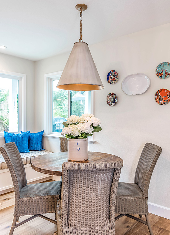 This eat-in adds both a traditional element as well as a bit of fun and whimsy along with a pop of color.