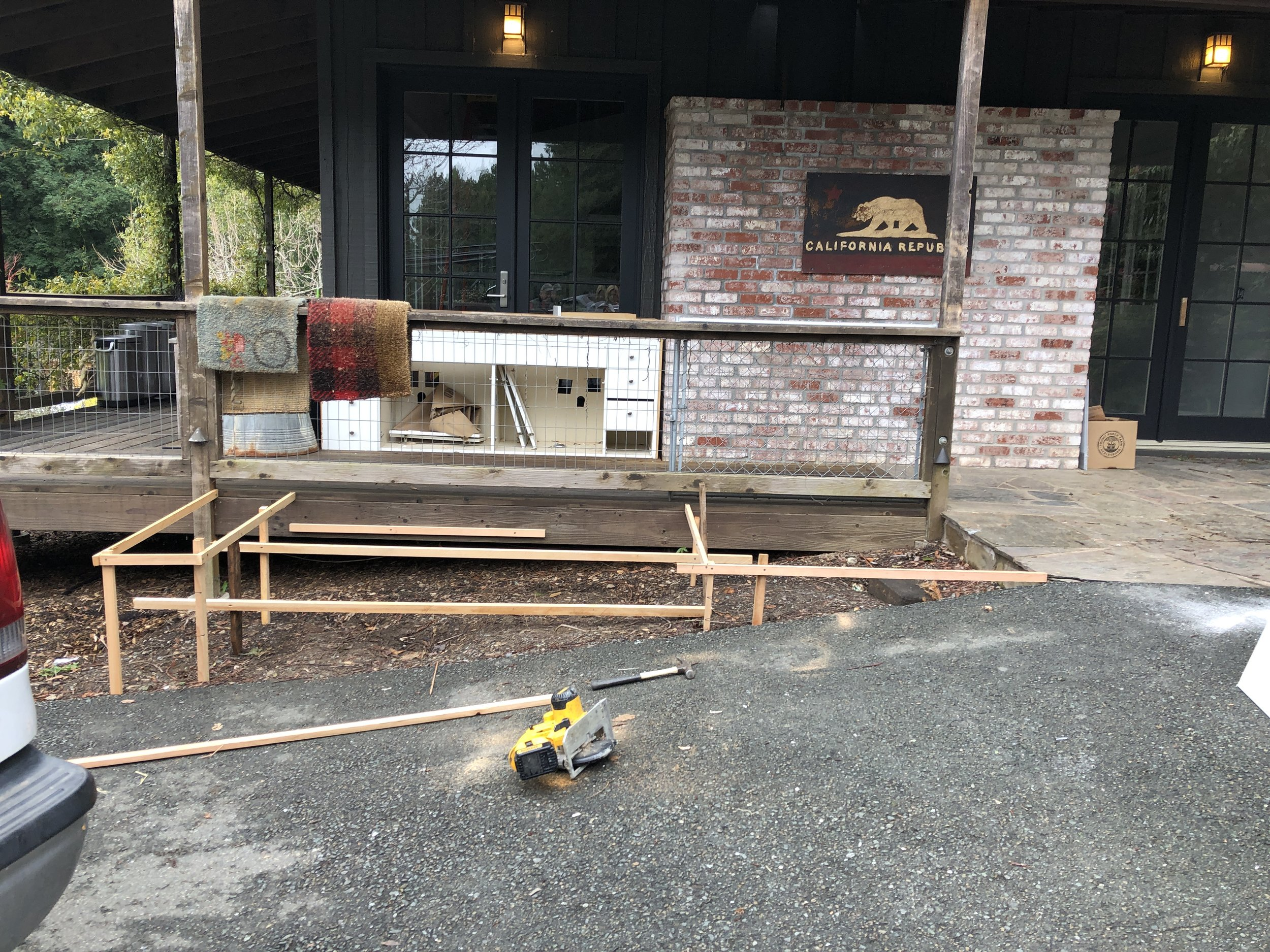 The contractor mocked up our end cap… - …laid out the stairs and the continuation of the right-side landing to make sure it was all going to work and look seamless.