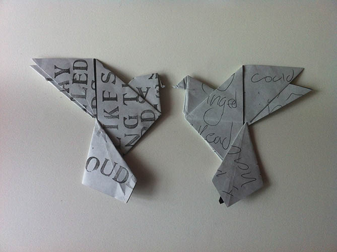 Origami birds I posted to strangers around Leeds and Bath. 2011