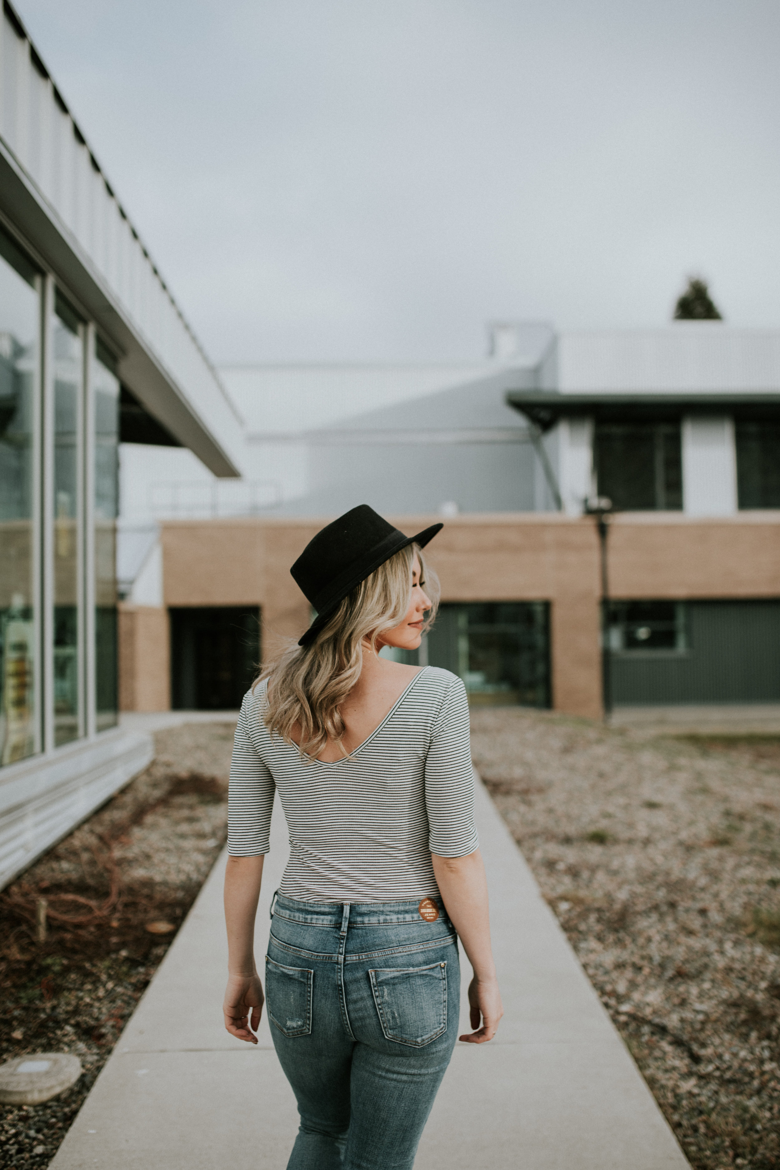 Vancouver blogger Chelle Morgan in jeans and striped shirt