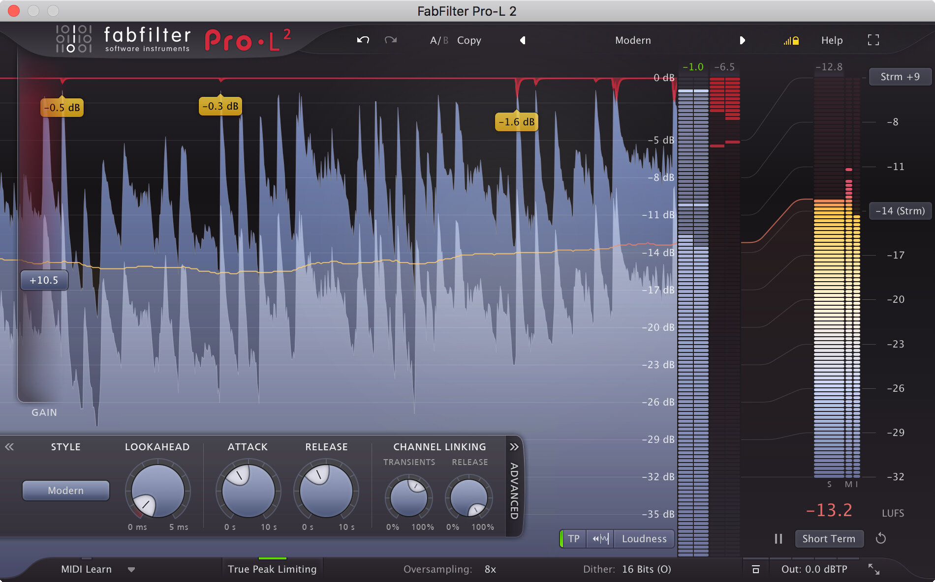 Fabfilter Pro-L 2 - I want my final brickwall peak limiter to be a lot of things, but audible is not one of them. The Fabfilter Pro-L 2 is the pinnacle of limiter technology. It is capable of huge amounts of peak reduction (if necessary) with very few artefacts. It never ceases to amaze me!