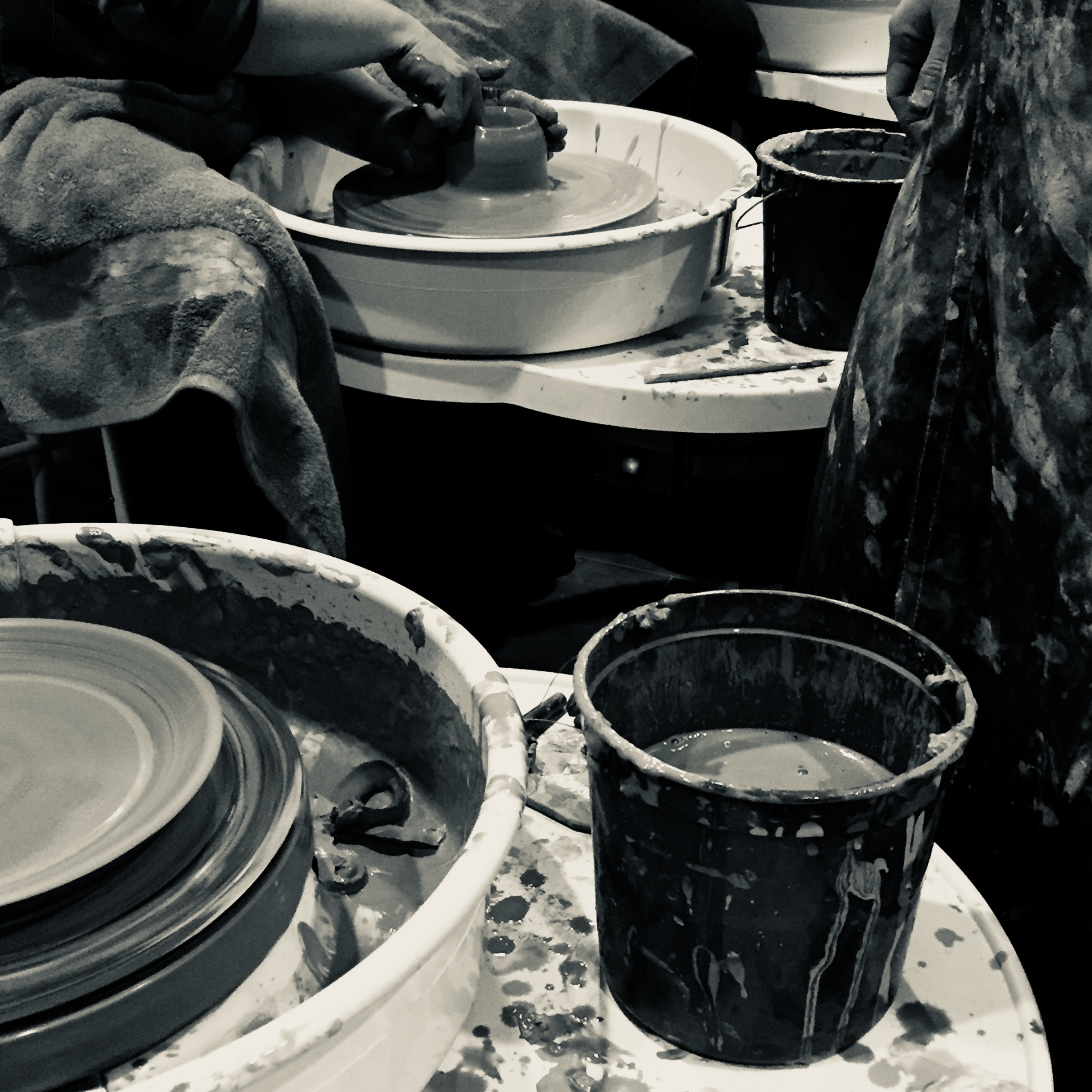 potters on a pottery wheel