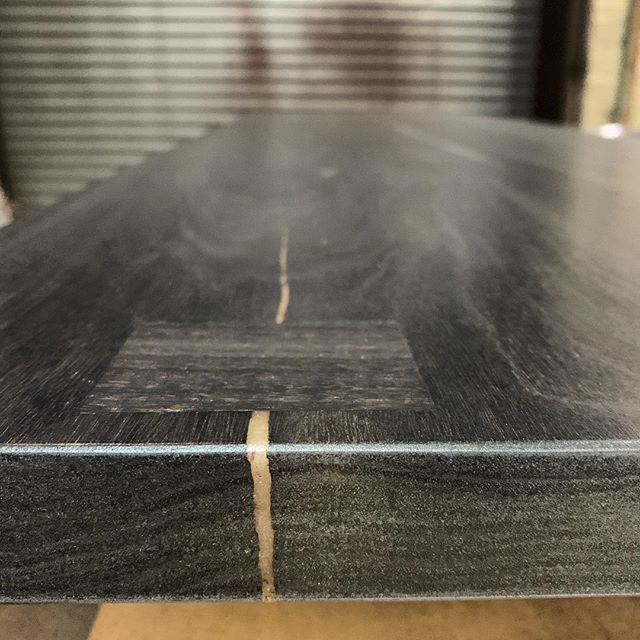 Kitchen island in progress #details #custom oxidized walnut and resin ⚡️