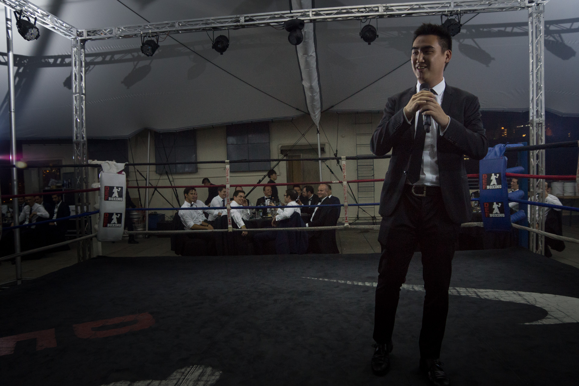 How many other people get to perform in a boxing ring?