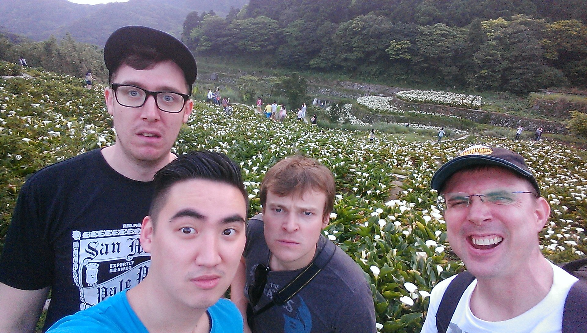 Took a hike with some comics to go see the tulips bloom in Taipei before our Taiwan debut. Because we're very manly people.