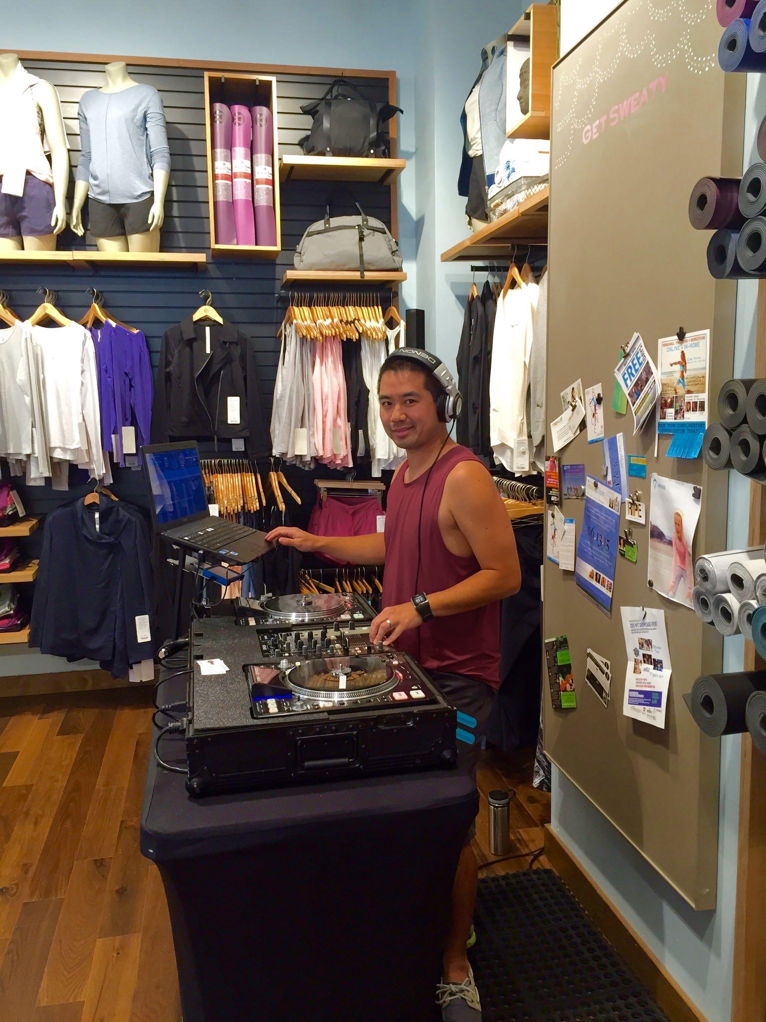 DJ Justin Kanoya performs at Lululemon Fashion Valley to celebrate the Rock n' Roll San Diego 1/2 Marathon and Marathon Weekend.