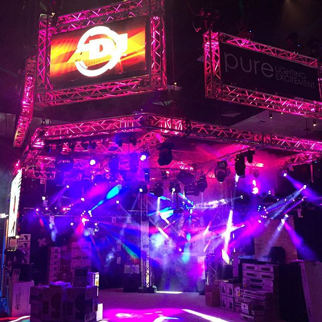 The DJ Expo is lit up by manufacturers such as American DJ, who are on hand to promote their latest product offerings.