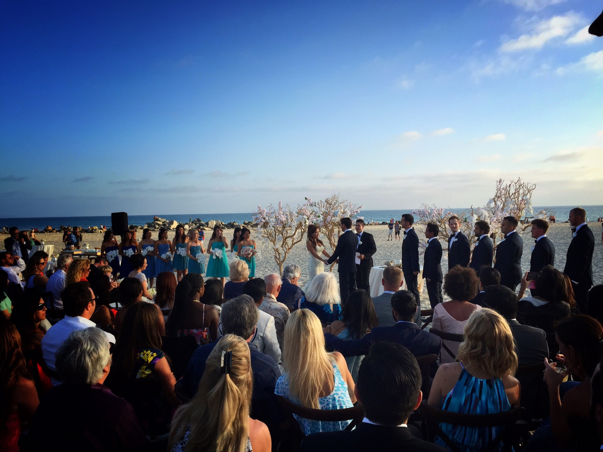 A perfect Southern California late afternoon for a perfect Coronado wedding, right on the beach.