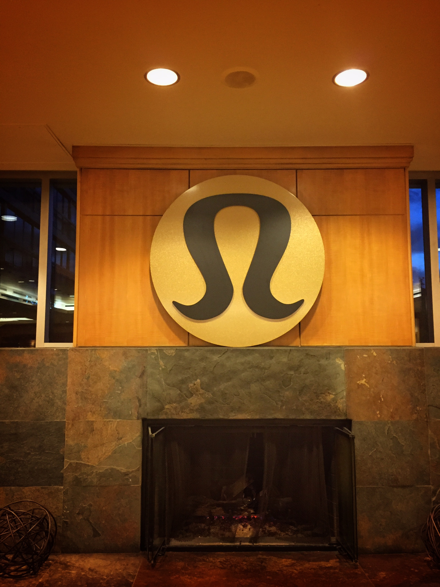 This large Lululemon logo greeted attendees at the entrance of the Westin Bayshore.