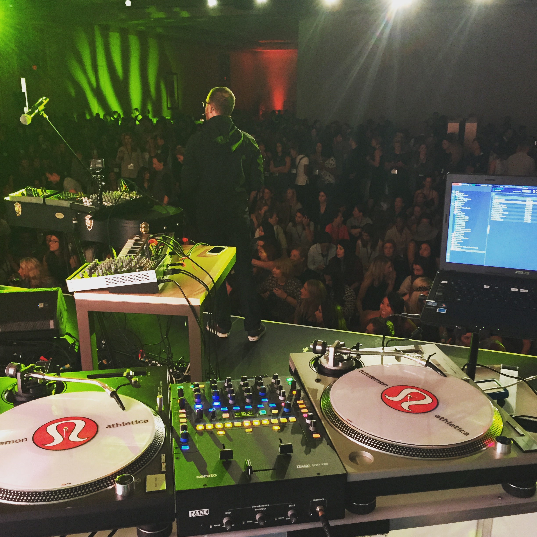 San Diego DJ, Justin Kanoya, DJ's at the Lululemon Leadership Conference in Vancouver.