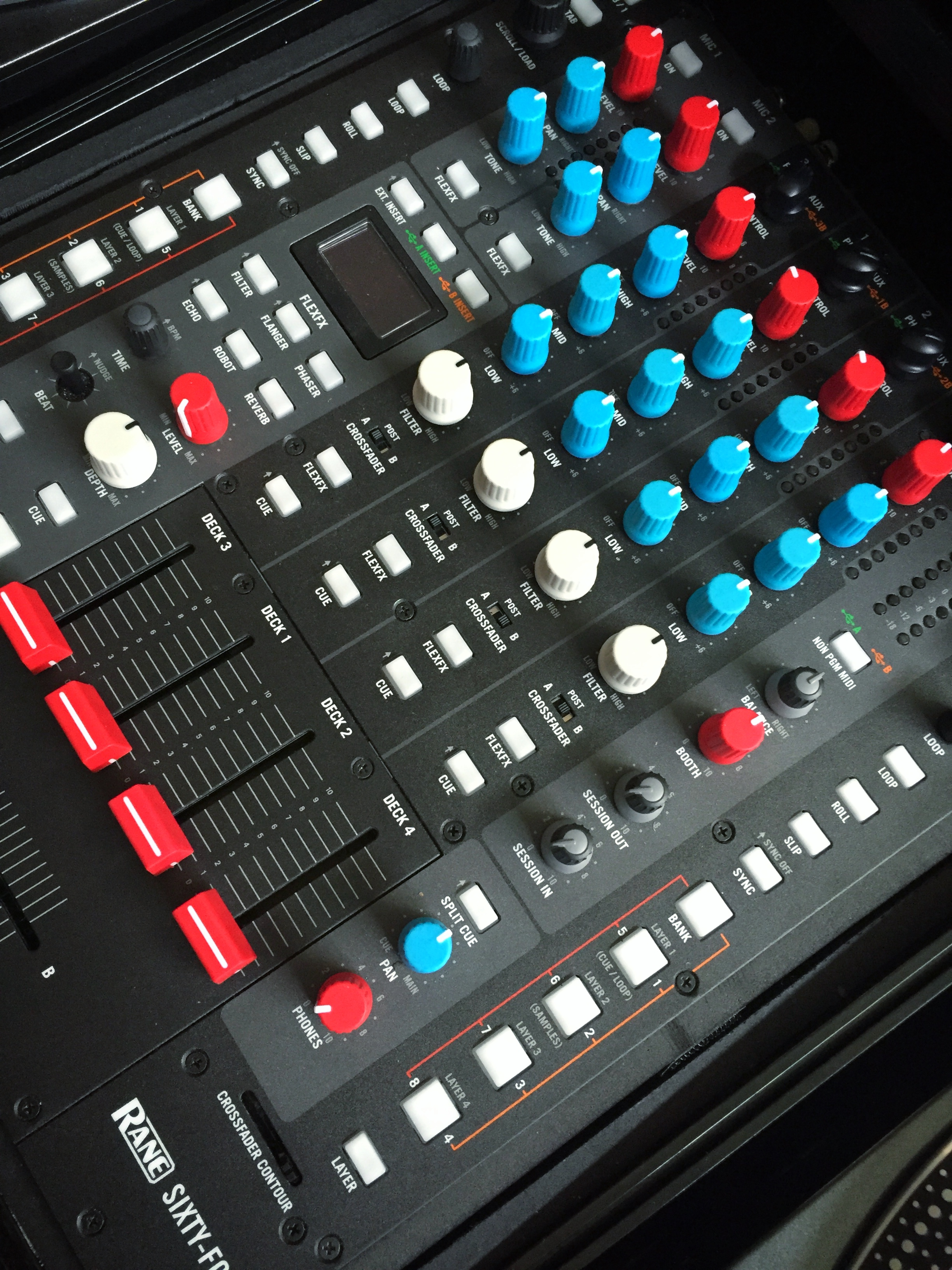Chroma Caps from DJ Tech Tools applied to a Rane 64 DJ mixer.