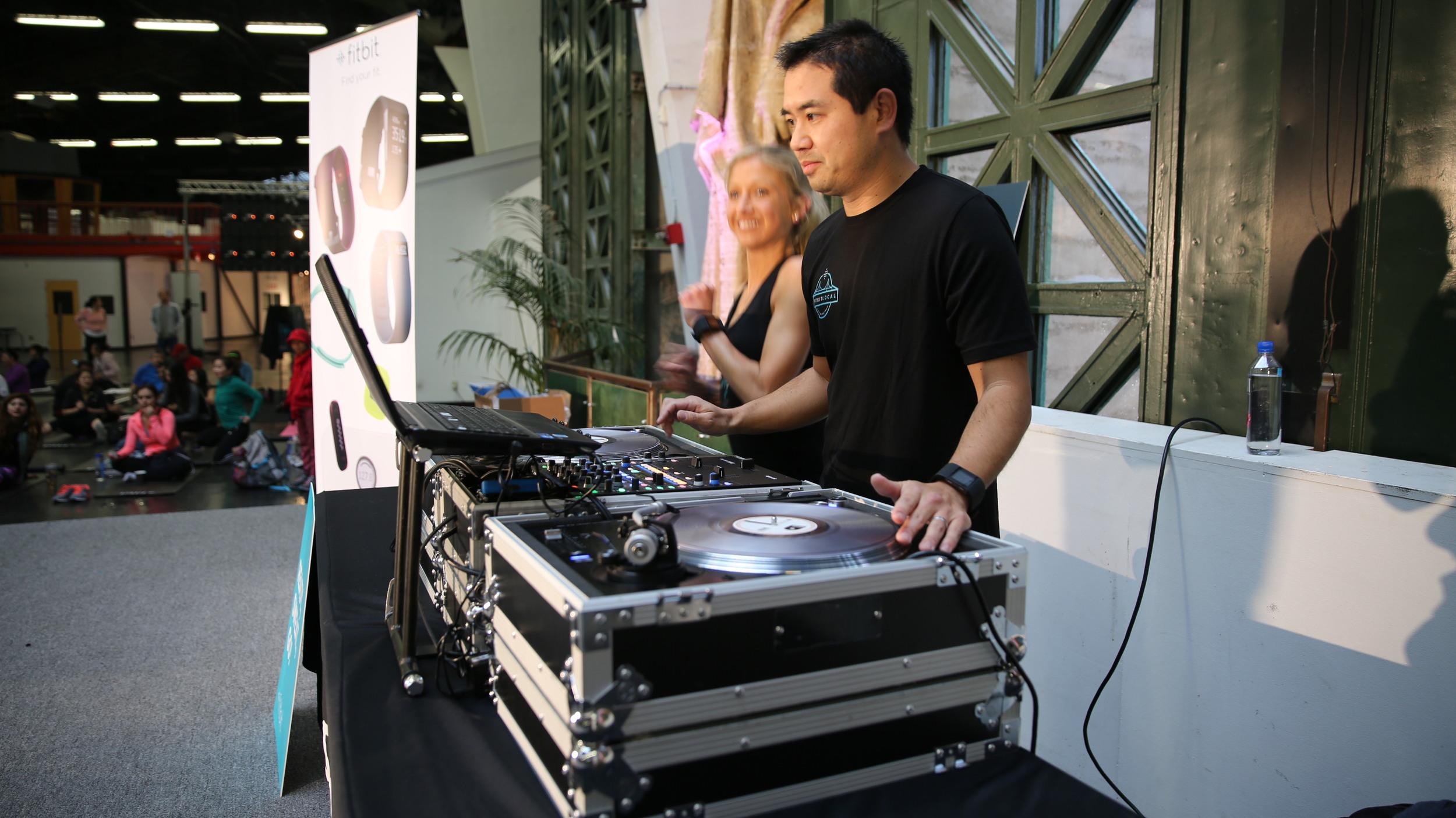 San   Diego based   DJ, Justin Kanoya, at the Fitbit Local kick off.