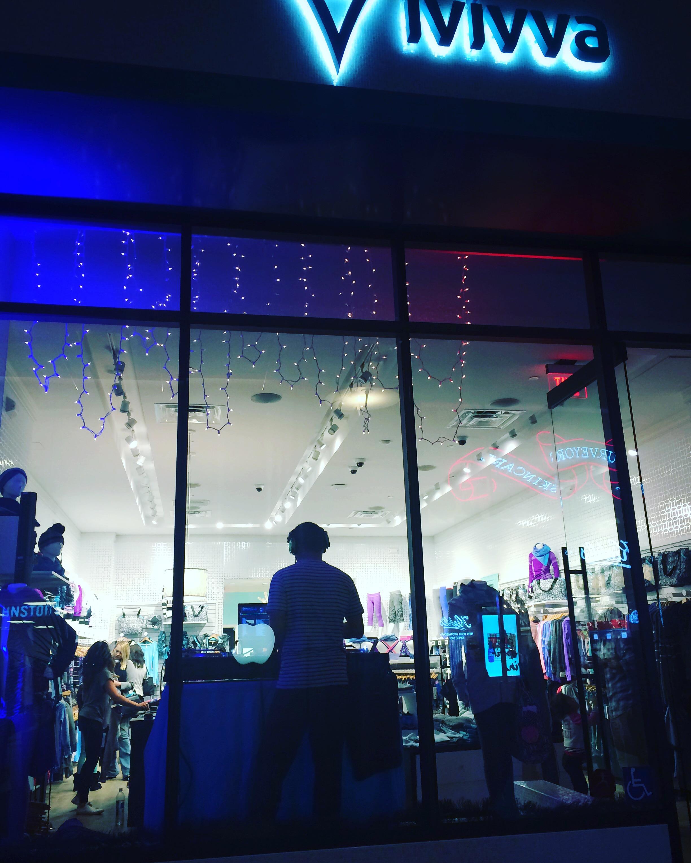 Justin Kanoya DJ's the Justin Bieber Dance Party at Ivivva UTC in La Jolla, California.