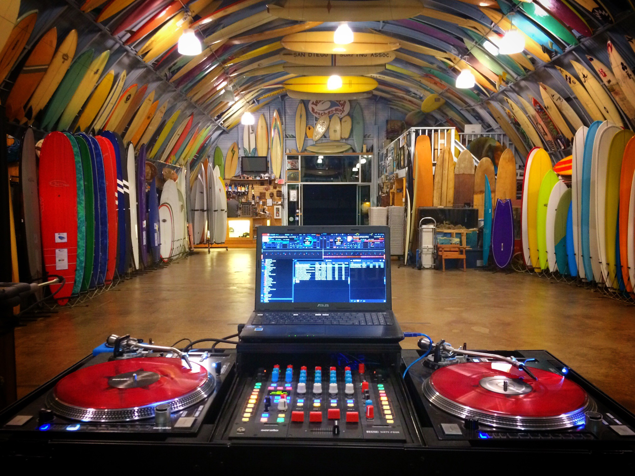 Rane 64 and Reloop 8000 set-up by DJ Justin Kanoya at Birds Surf Shed in San Diego.
