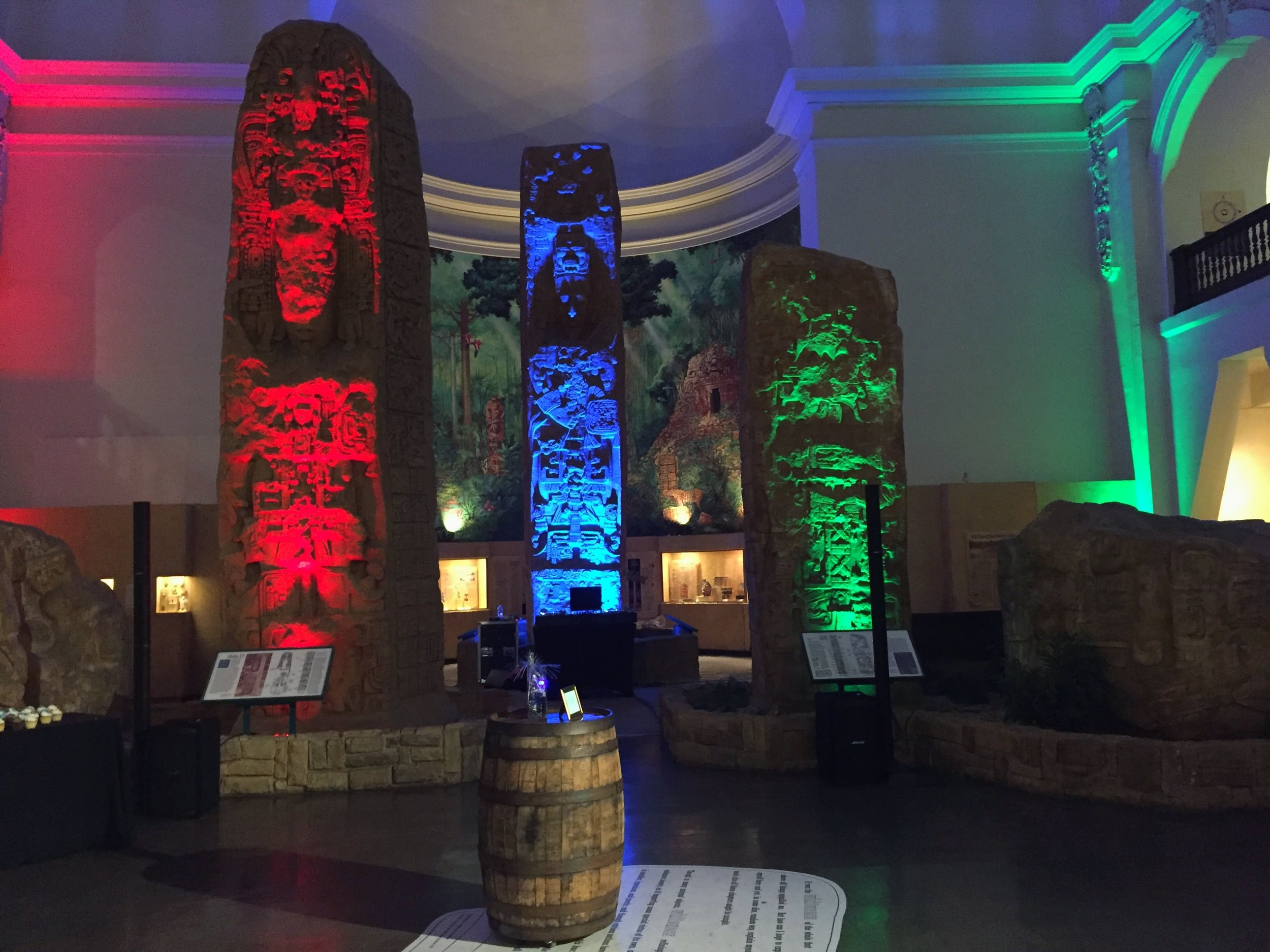 Uplighting creates a dramatic effect on the high ceilings and exhibits at the Museum of Man in Balboa Park.