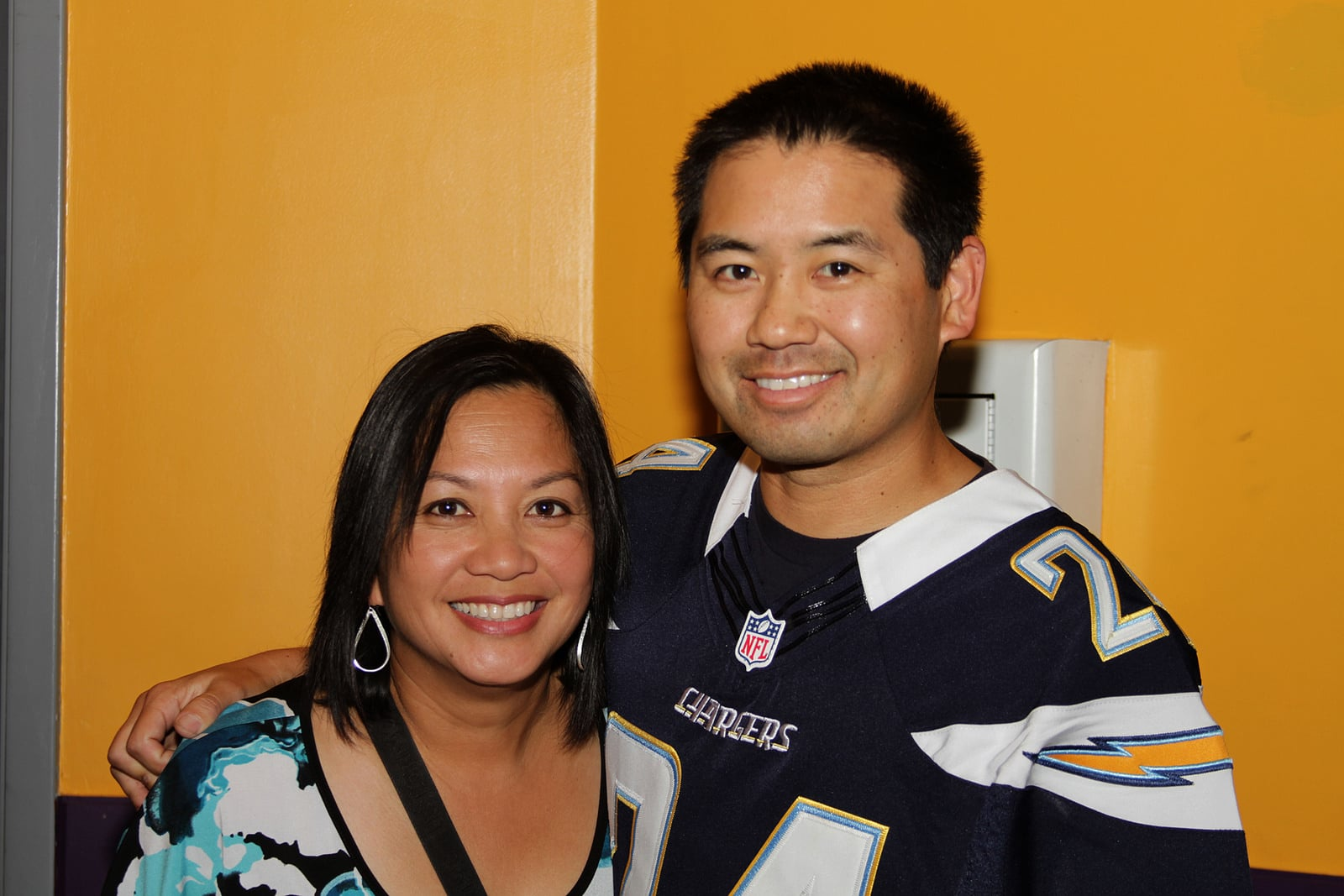 San Diego DJ, Justin Kanoya with Pacific Arts Movement (and wife) board member, Sheila Kanoya.