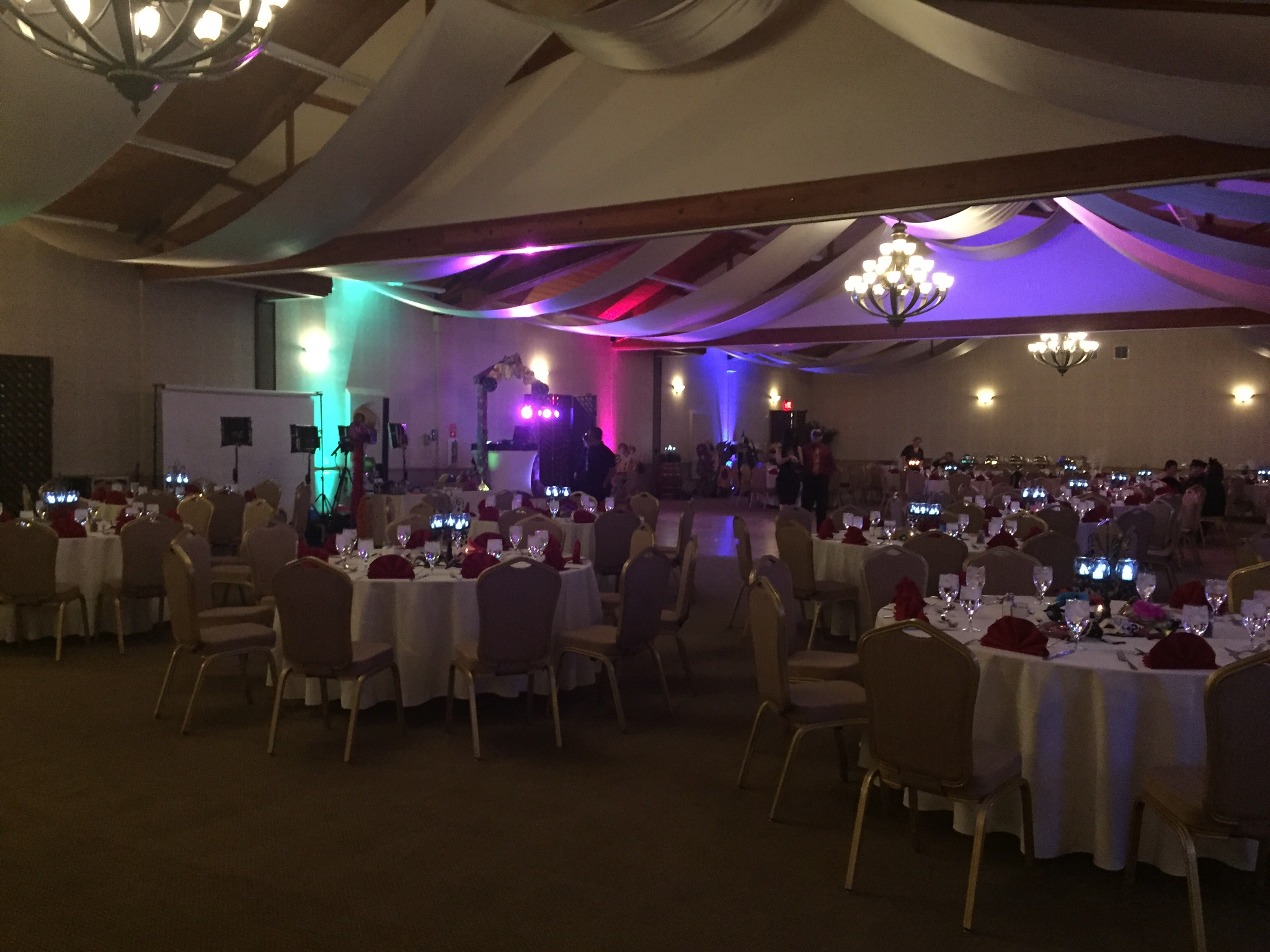 Uplighting for the South Coast Winery ballroom was provided by DJ Kanoya. The fixtures used are the American DJ Mega Tri Par Profile Plus.