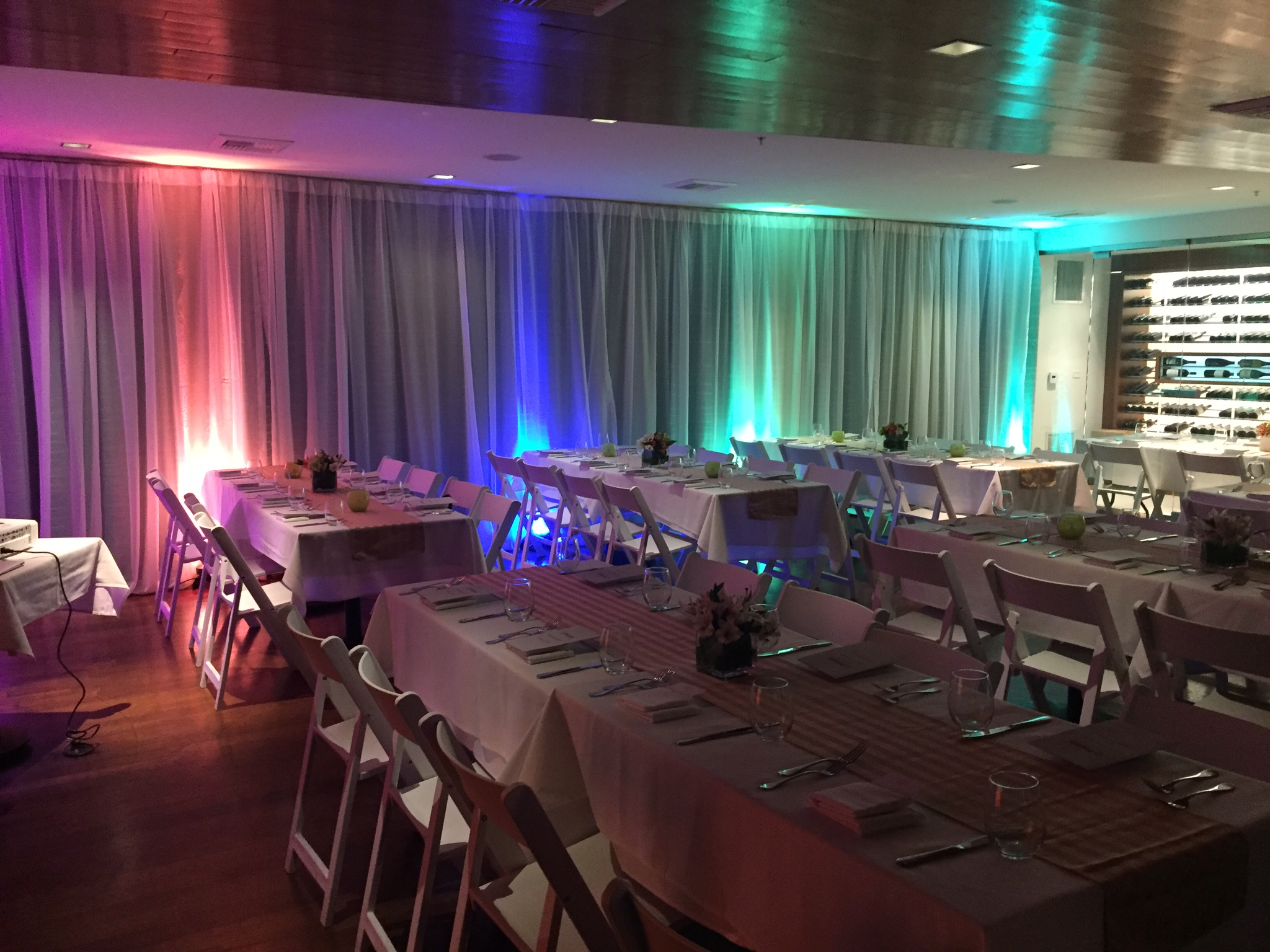 DJ Kanoya Productions provided uplighting inside the private dining room at JRDN Restaurant. The restaurant is located within the Tower23 Hotel in Pacific Beach - San Diego.