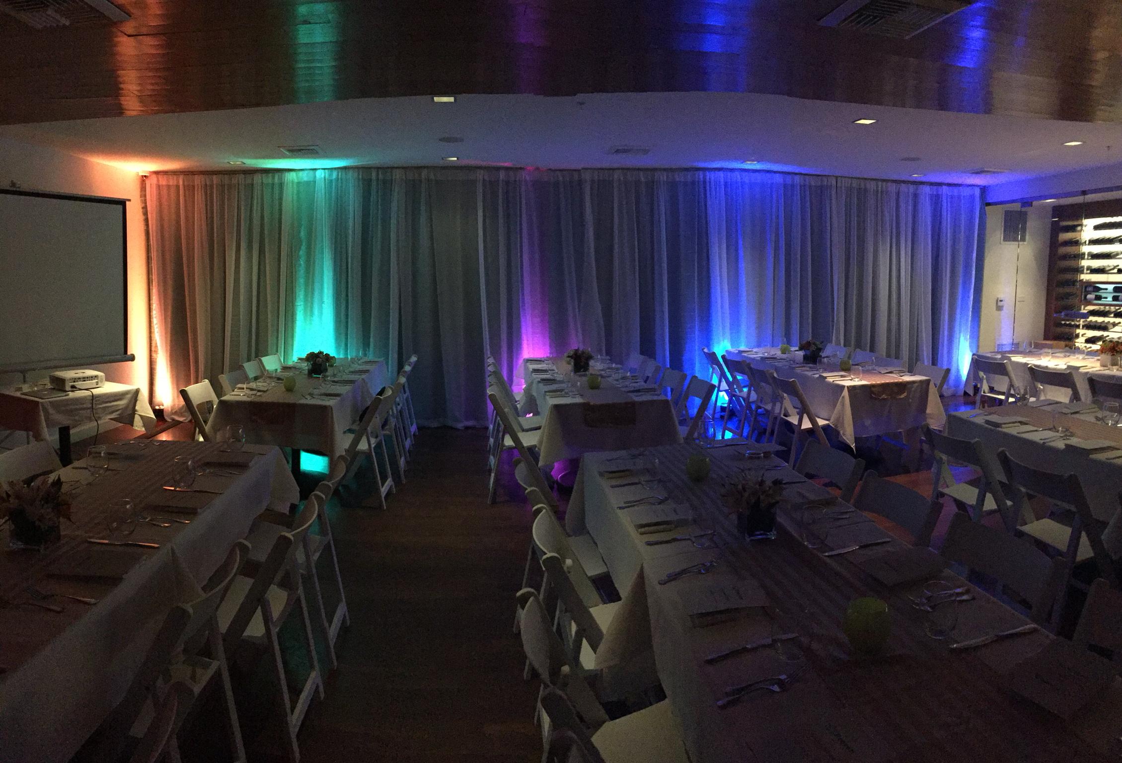 Uplighting inside JRDN Restaurant provided by DJ Kanoya Productions.