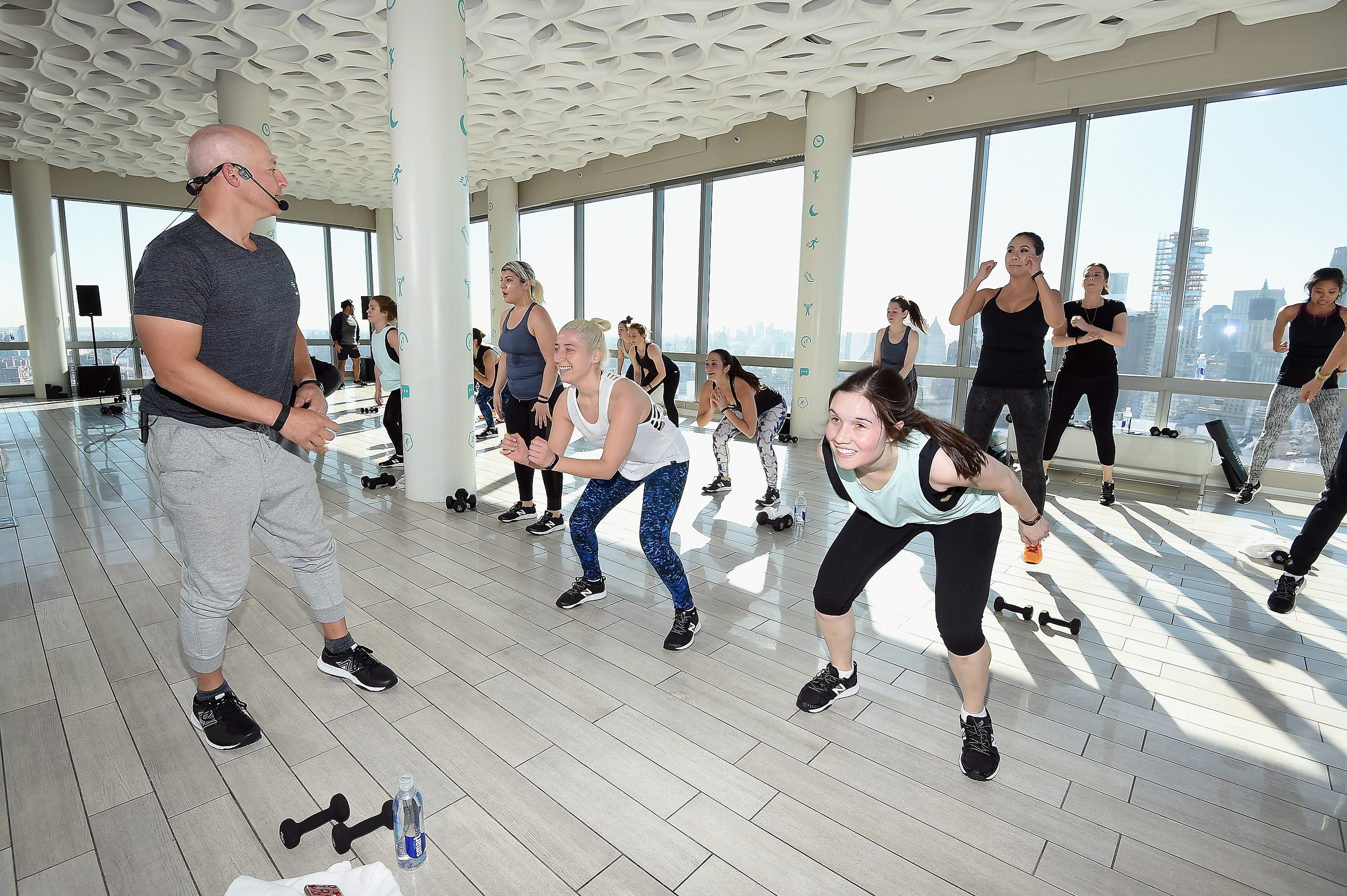 Celebrity fitness trainer Harley Pasternak was on hand to lead a workout where all the participants were using the new Fitbit Alta.