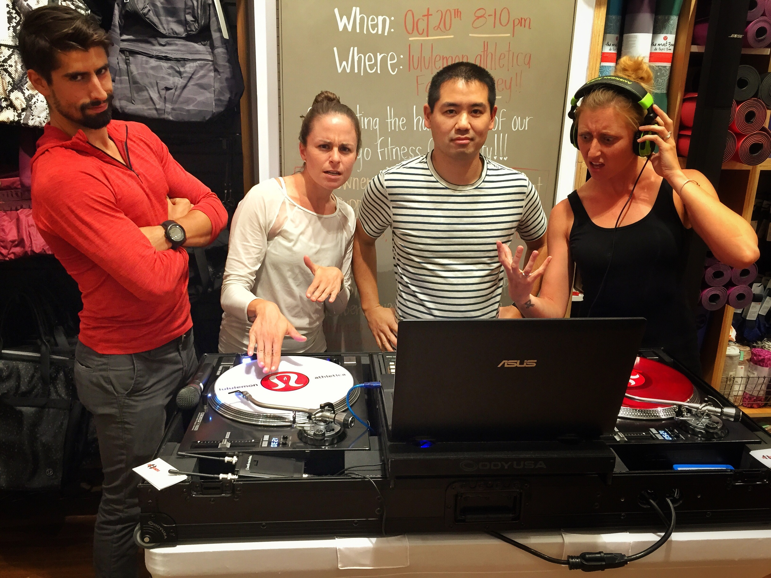 Great friends from November Project - San Diego attended Industry Night at Lululemon Fashion Valley. From left: Angelo Neroni, Lauren Padula, DJ Justin Kanoya and Ashleigh Voychick.