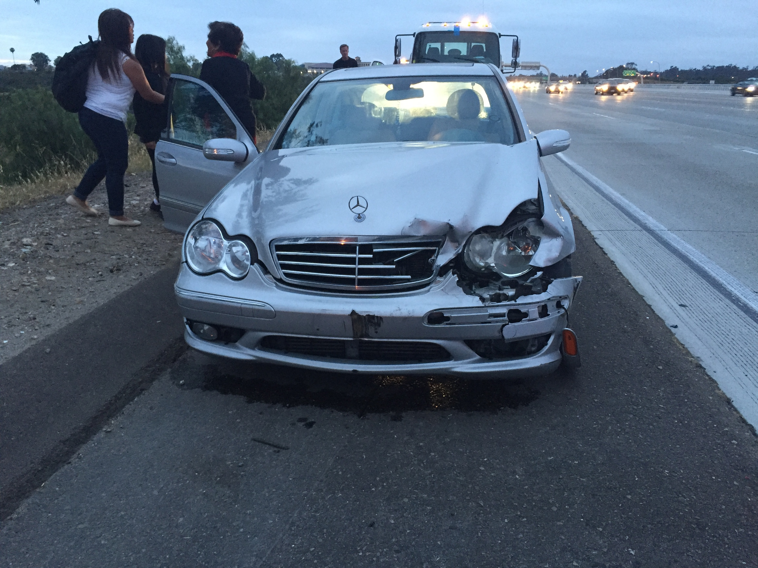This Mercedes was the second car to hit me