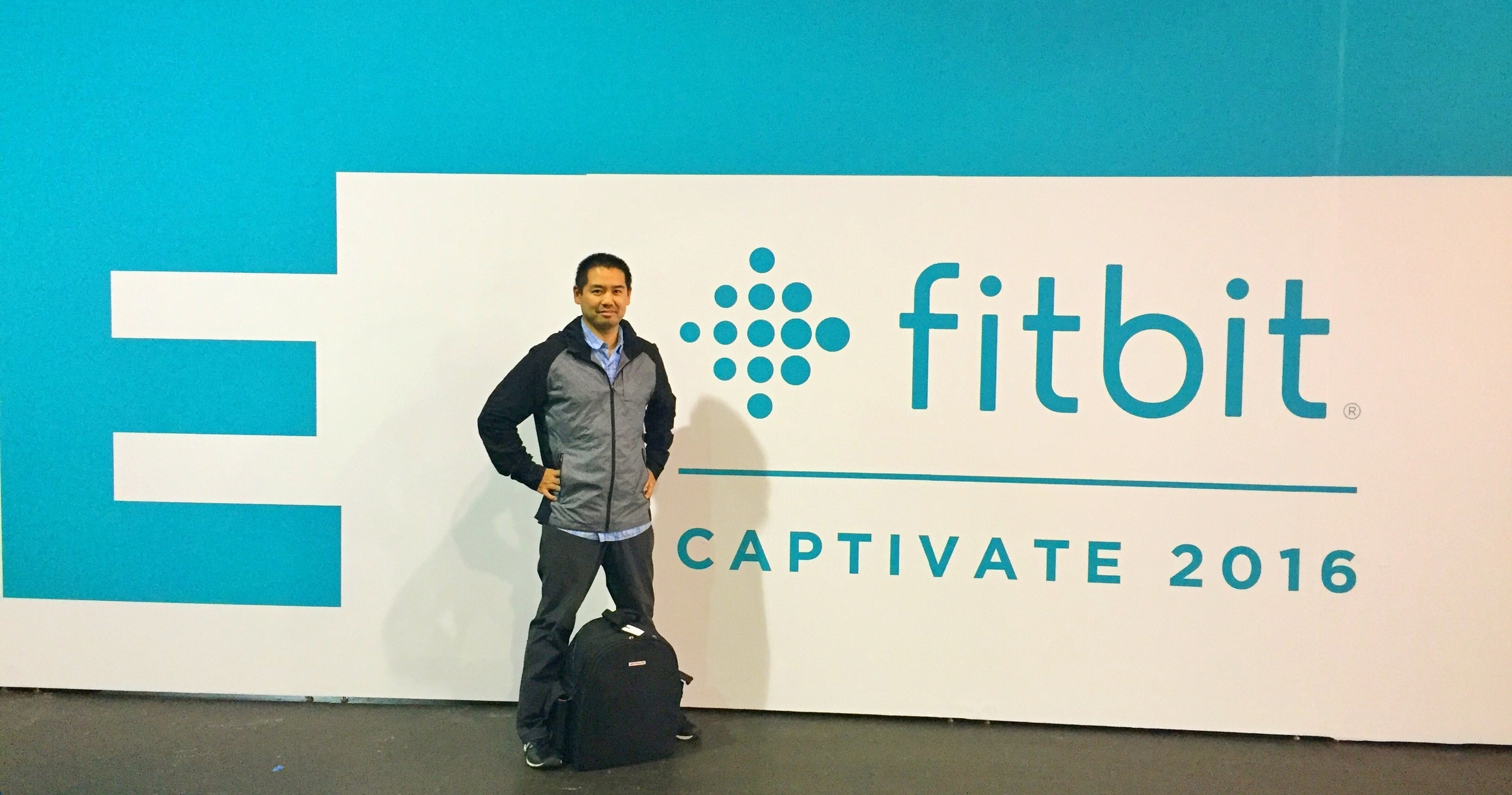 San Diego DJ Justin Kanoya gets ready to DJ at the Fitbit Captivate Summit 2016.