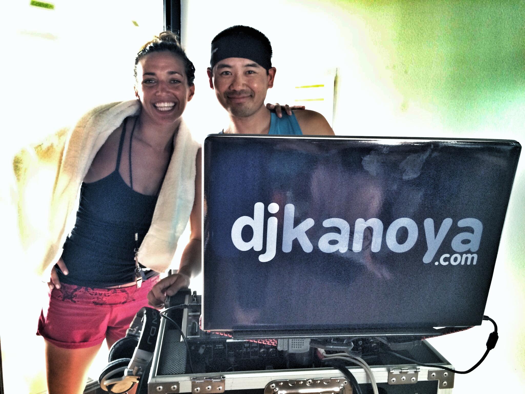 San Diego DJ, Justin Kanoya, with yoga instructor Katie Burke.
