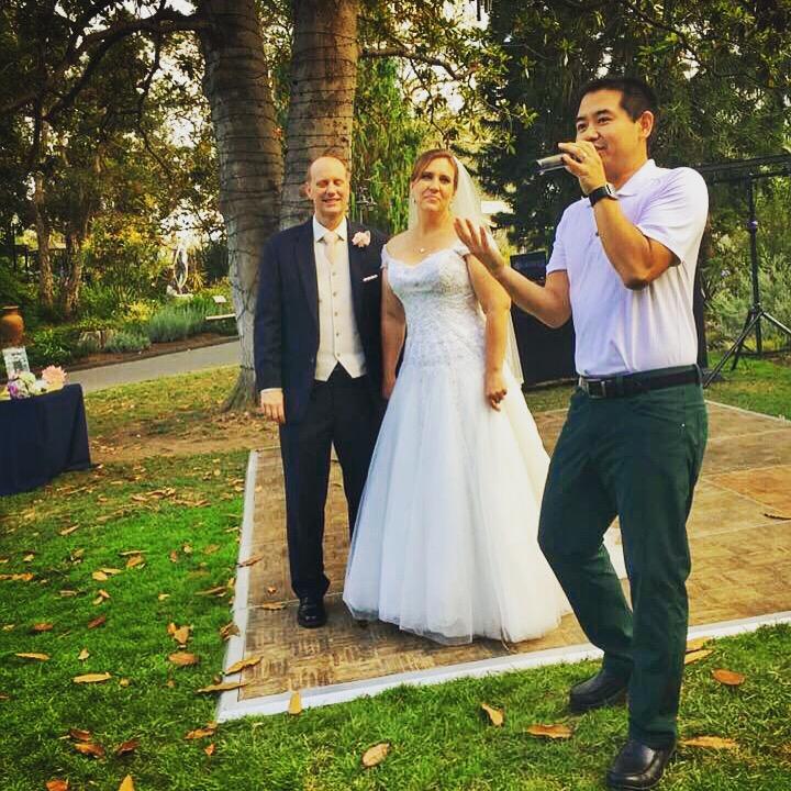 San Diego Wedding DJ, Justin Kanoya, introduces the newly wedded couple,Joy and Doug  , at the San Diego Botanic Garden.