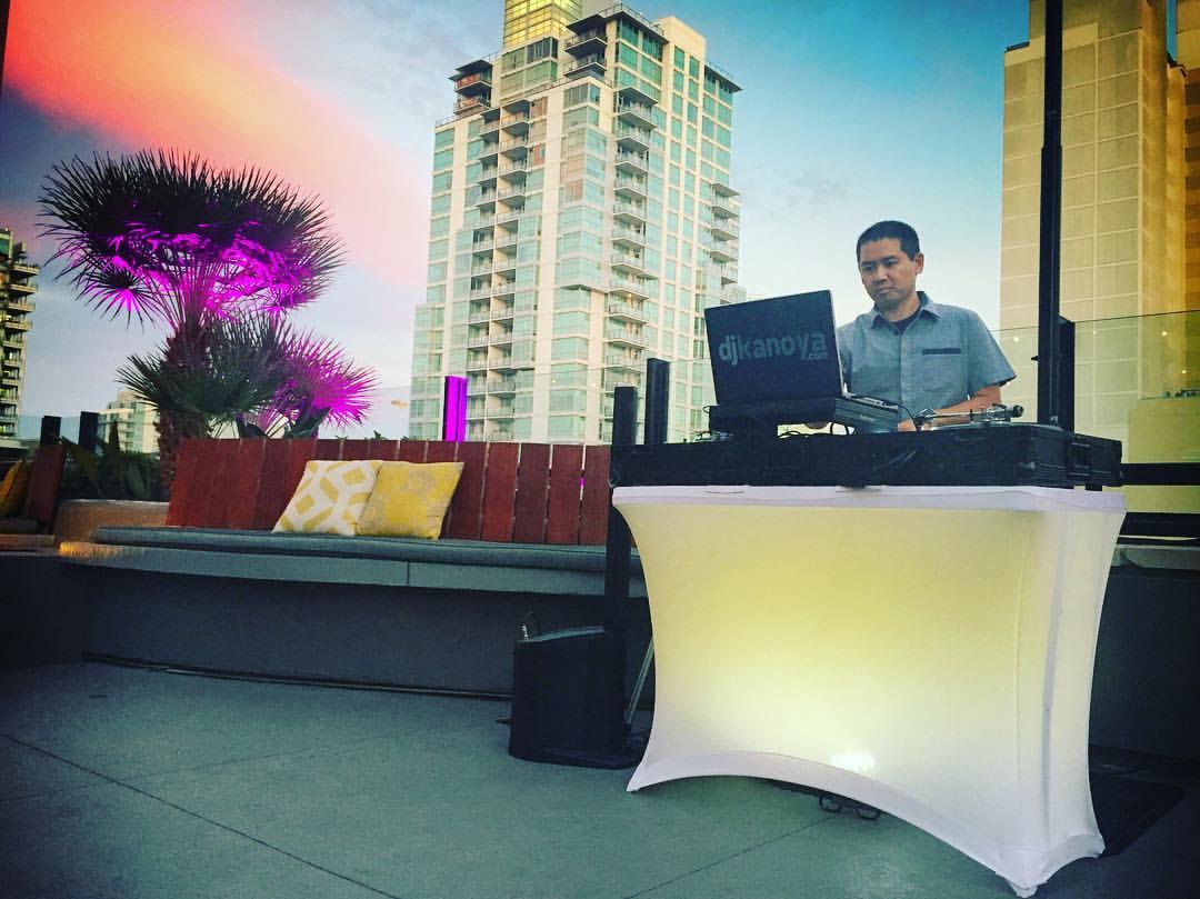 San Diego DJ Justin Kanoya DJ's for Hitfix at the San Diego Comic Con 2016.