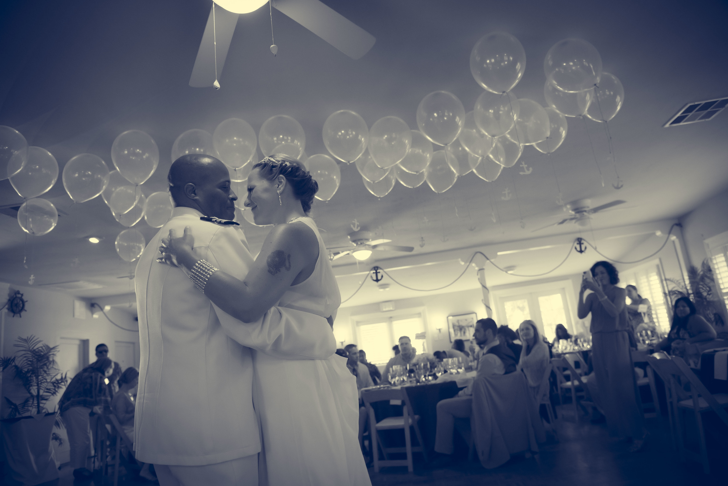 David and Katalin during their first dance at the Mission Beach Women's Club