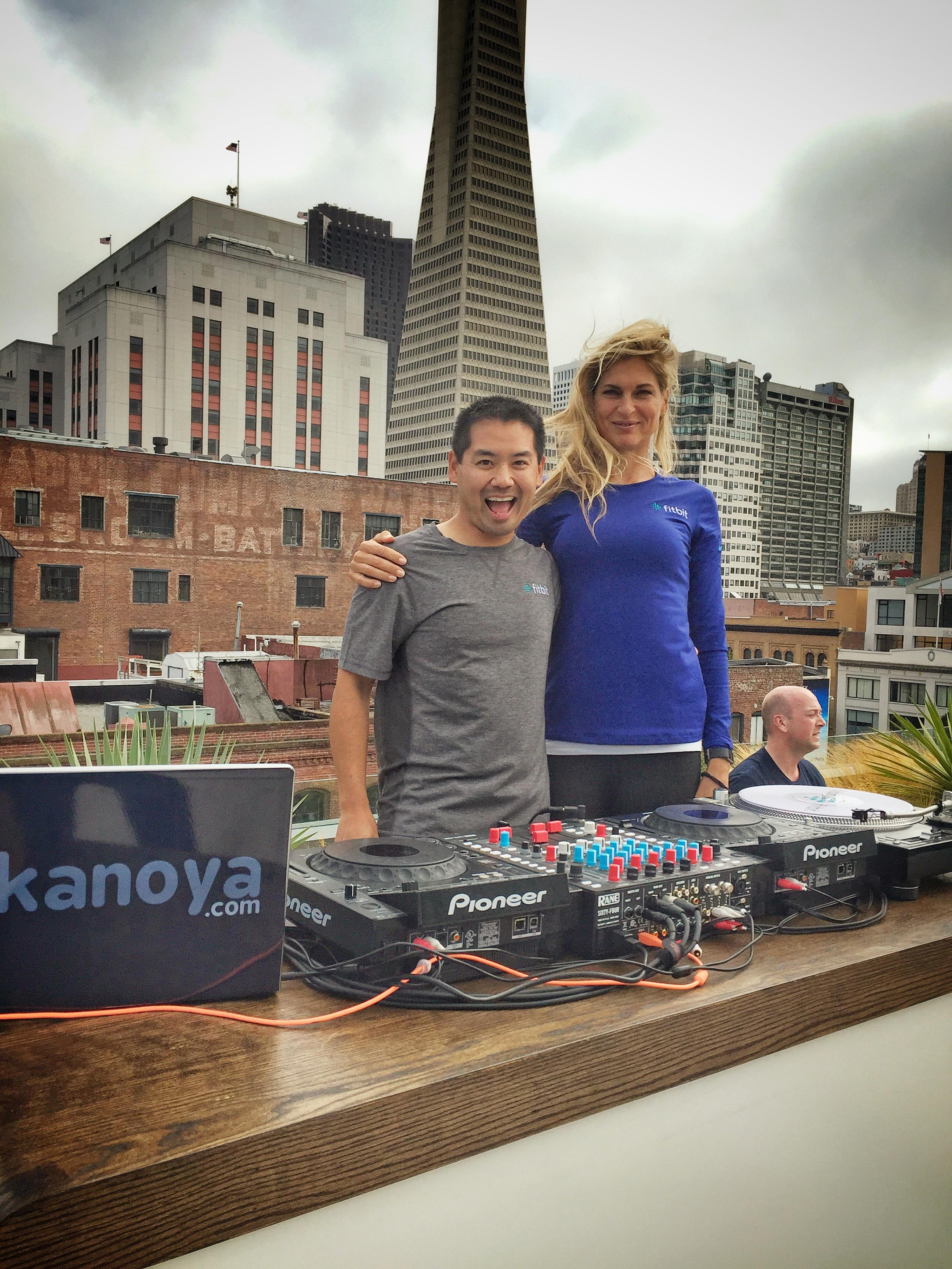 San Diego based fitness DJ, Justin Kanoya, and fitness expert Gabby Reece.