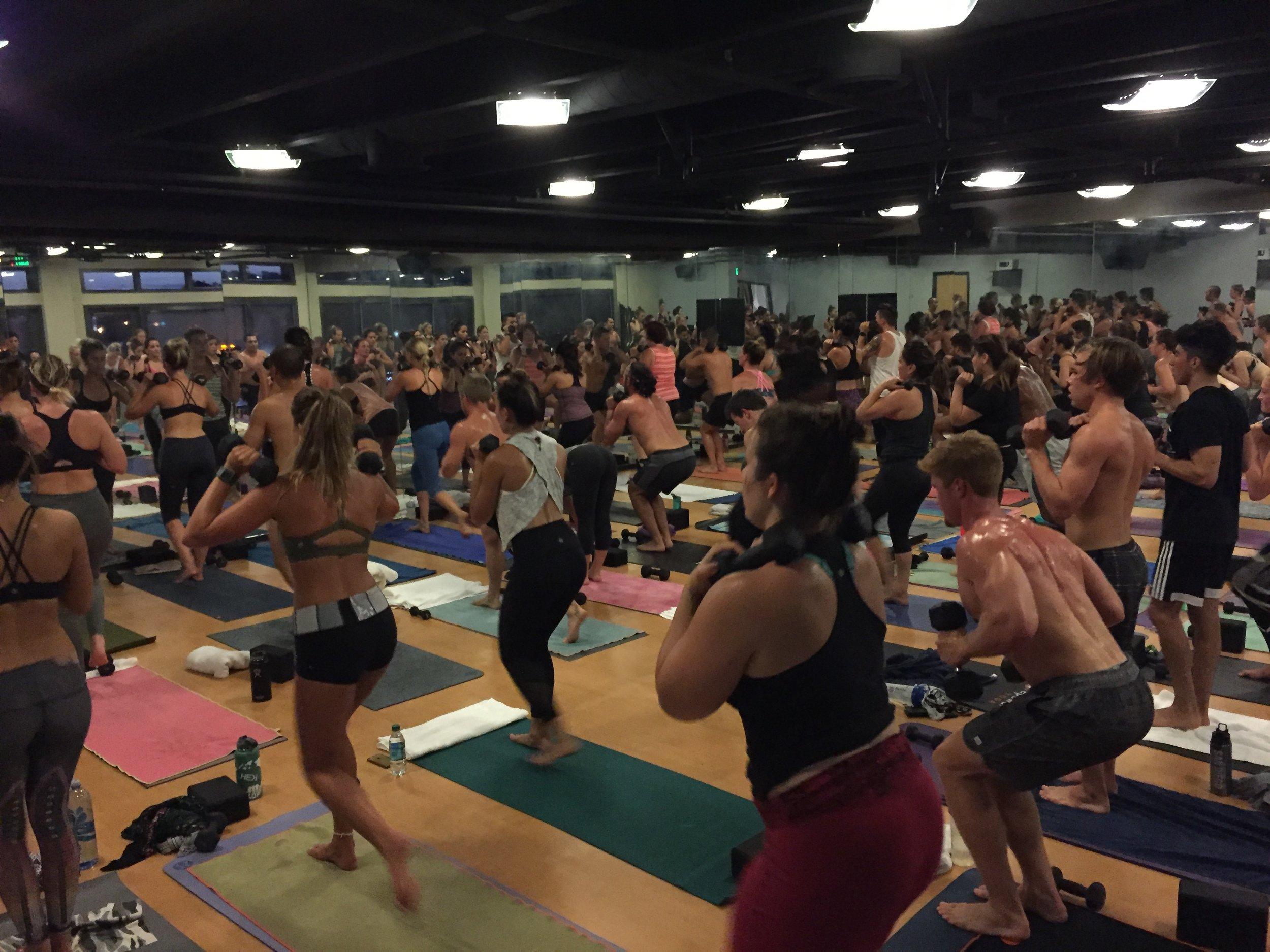 San Diego based yoga DJ, Justin Kanoya, spins beats at Corepower Yoga.
