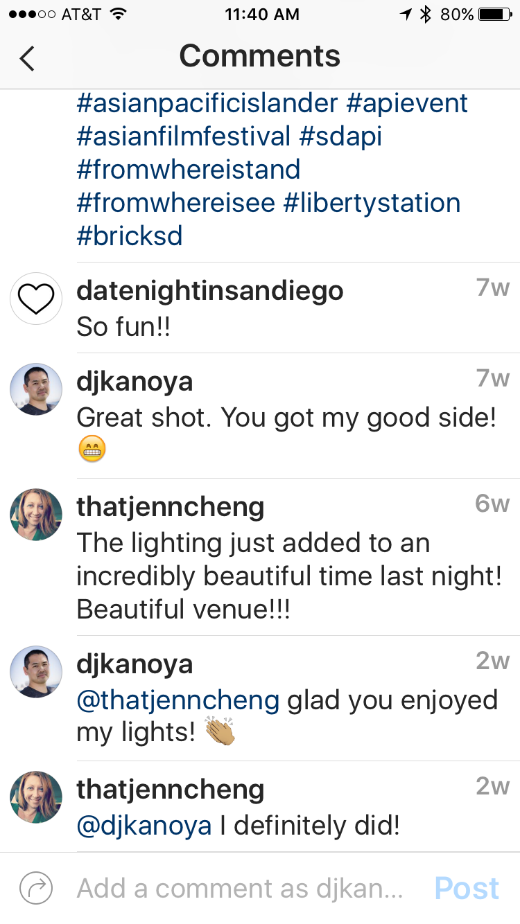 Engaging with users is the key to social media success. In this example, @thatjenncheng commented about the lighting and I made sure to thank her.