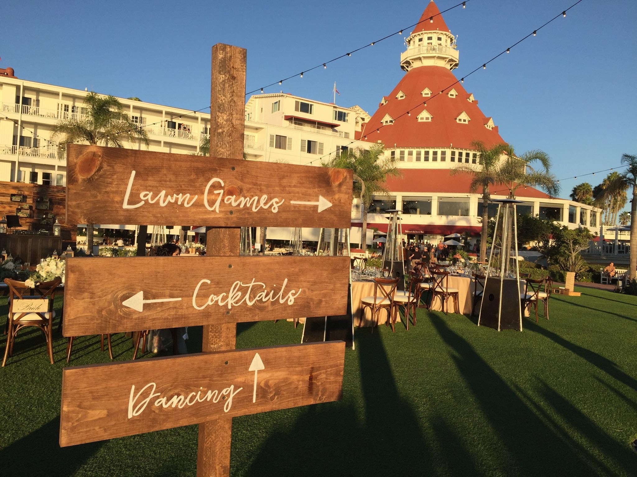 Custom signage set guests on the right path at Matt and Felicia's Hotel Del Coronado wedding.