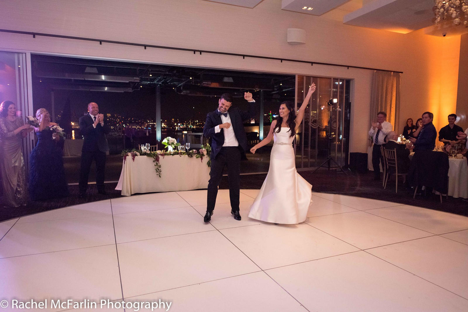 """Danny and Stefanie enter their wedding reception to the tune of Icona Pop, """"I Love It."""" And they did indeed love it."""