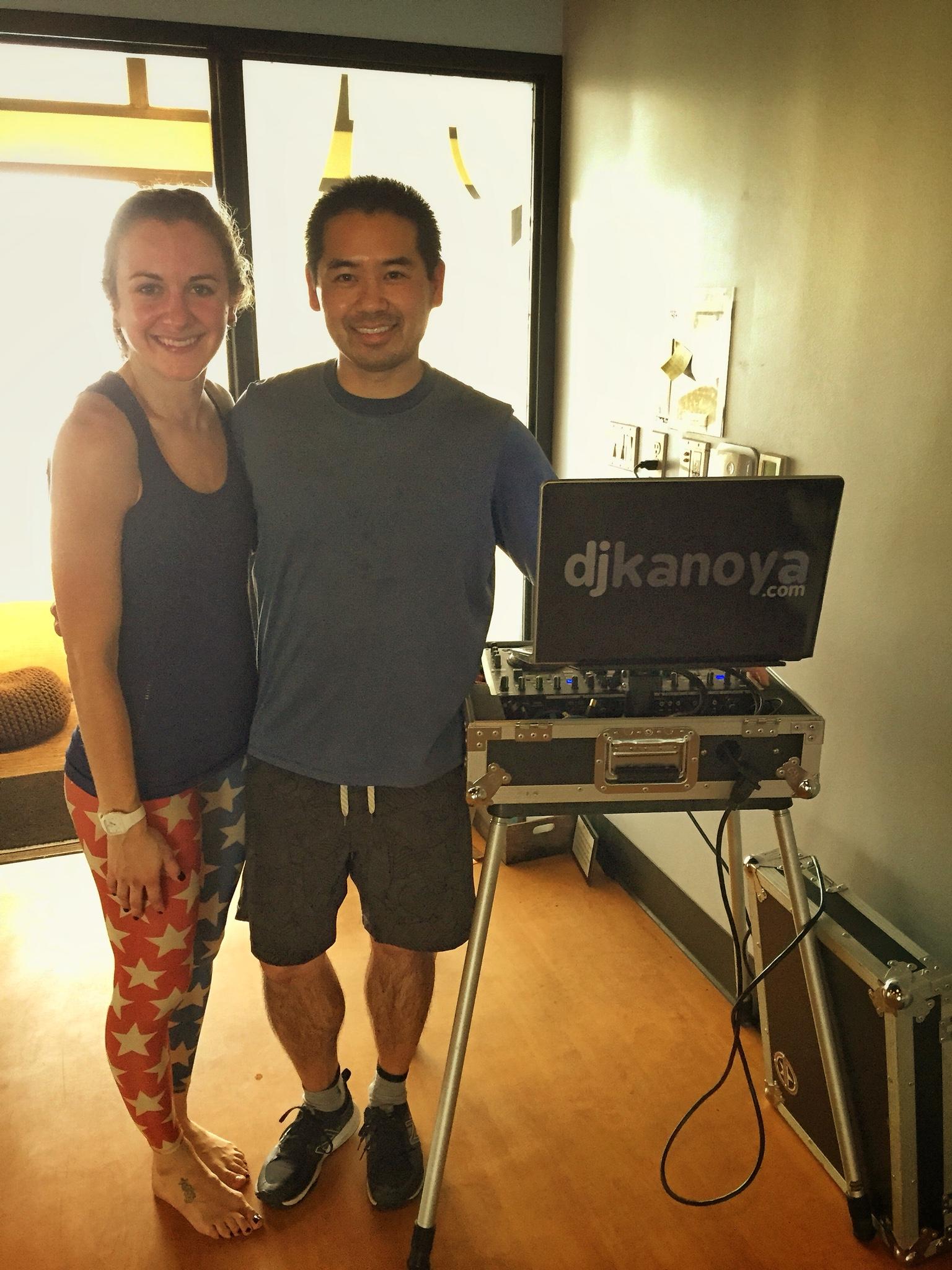 San Diego yoga DJ, Justin Kanoya, with Corepower Yoga teacher, Amanda Mays after a live DJ'd yoga workout.