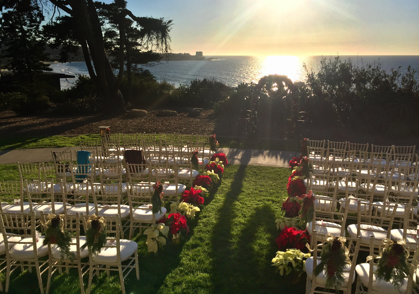 A picture perfect wedding setting, overlooking the Pacific Ocean at the Martin Johnson house.