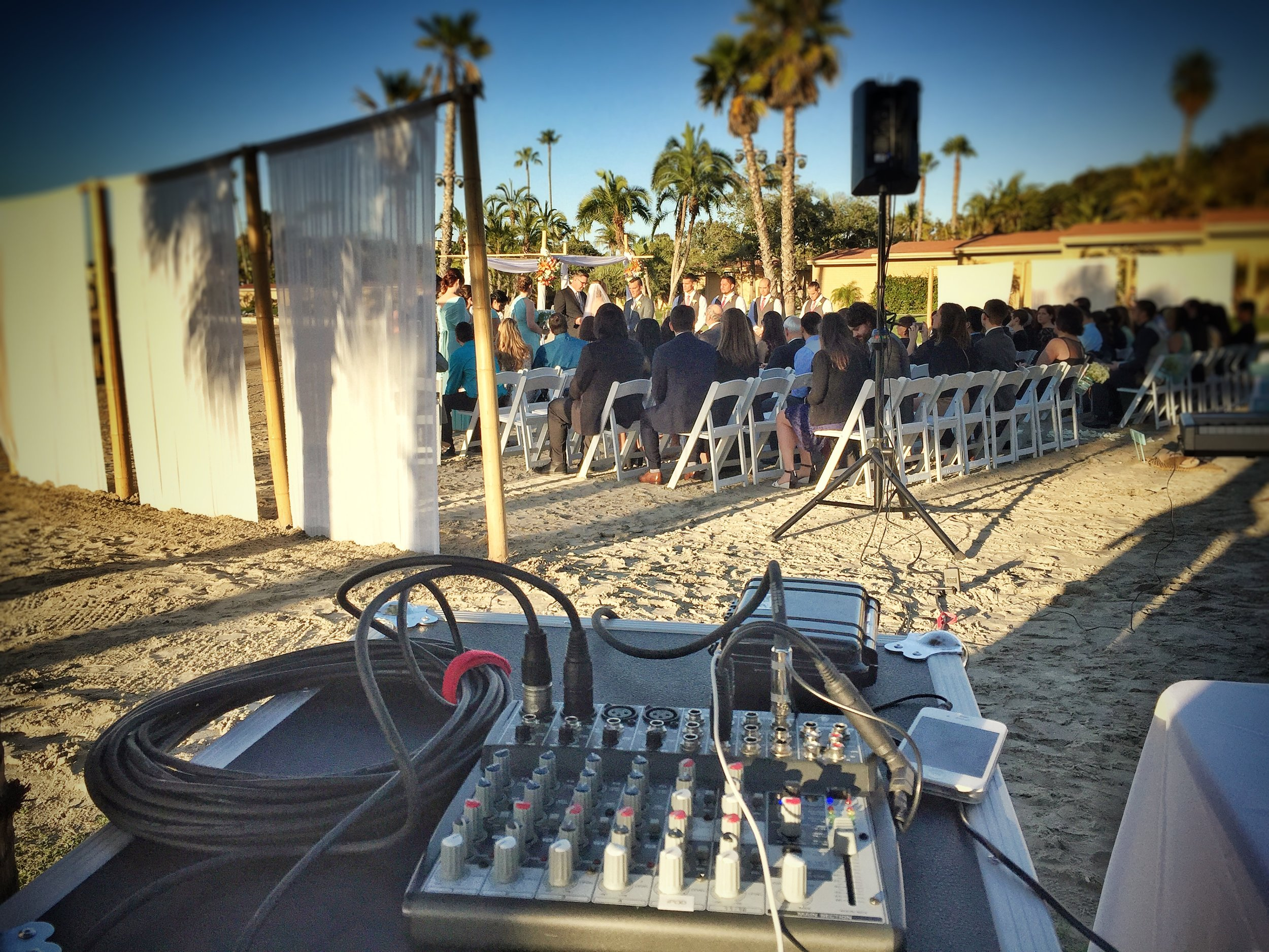 Nichole and Johan's wedding ceremony in progress, as seen from the DJ booth.