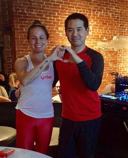 Yoga teacher, Lauren Padula and DJ Justin. Kanoya