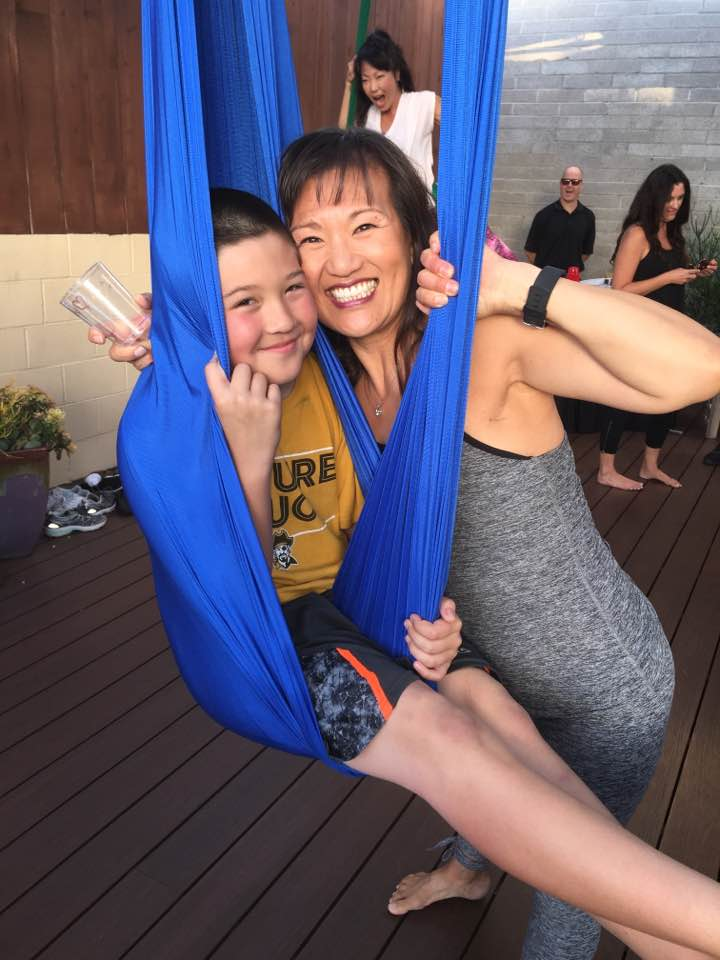 Lily celebrated her 50th birthday with family and friends at Elka Yoga and Wellness Center. The aerial yoga studio was the venue for open gym and a dance party DJ'd by DJ Kanoya (Justin Kanoya, San Diego DJ.)