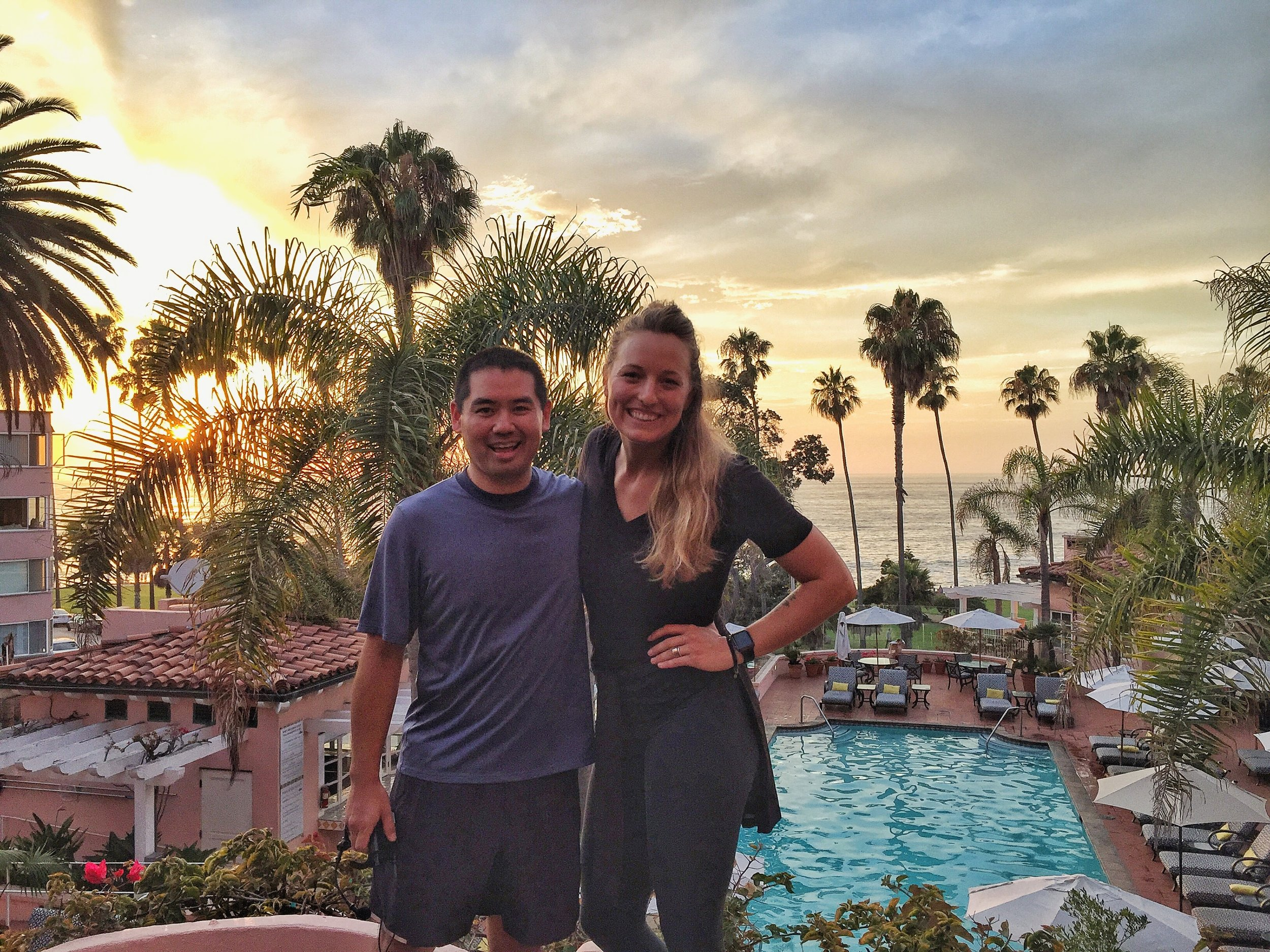 San Diego yoga DJ, Justin Kanoya (left), and yoga instructor, Brett Timmons pose after the Savasana at Sunset event held on August 1 at La Valencia.