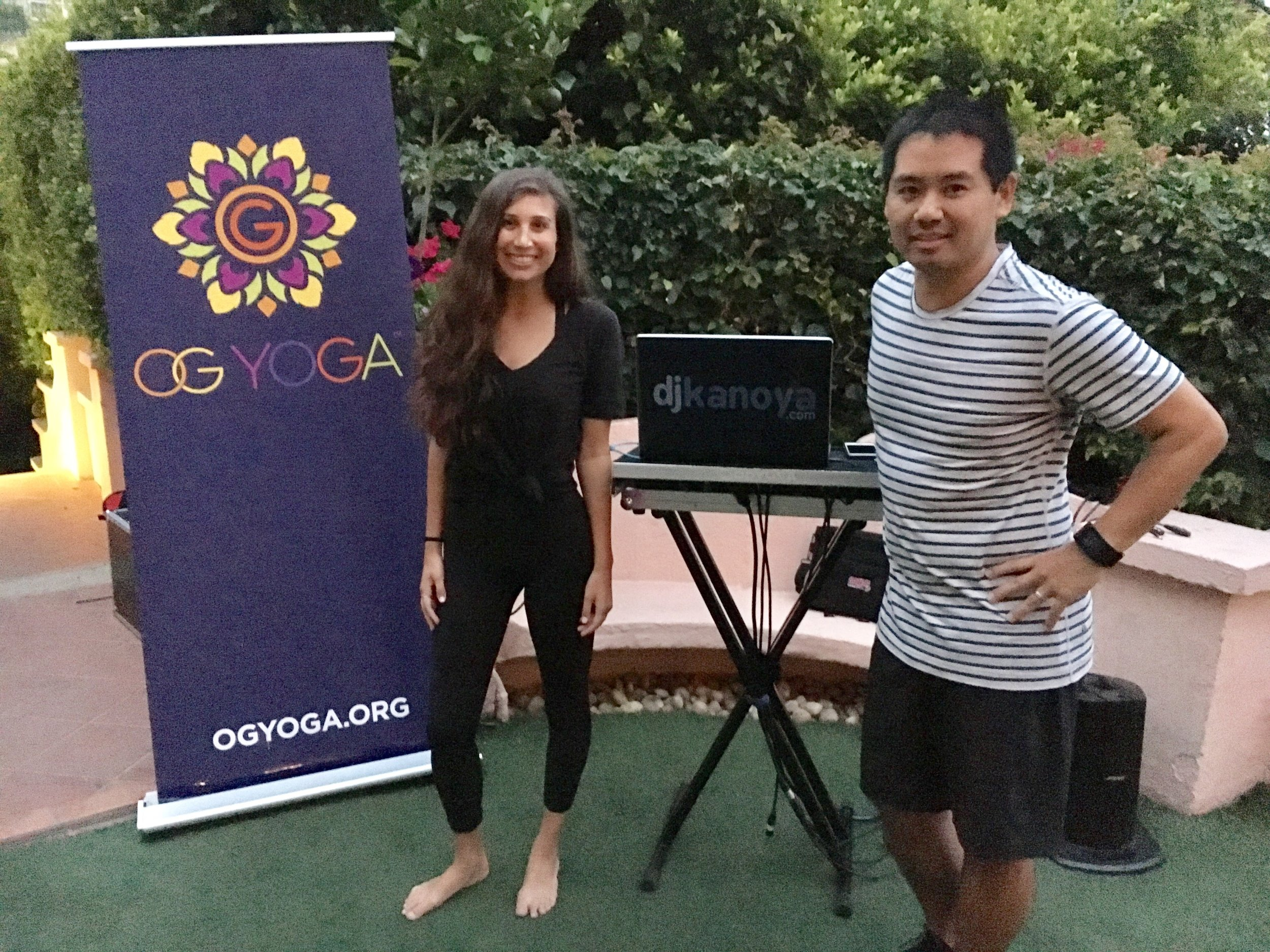 San Diego yoga instructor, Sara Shermis, and yoga DJ, Justin Kanoya