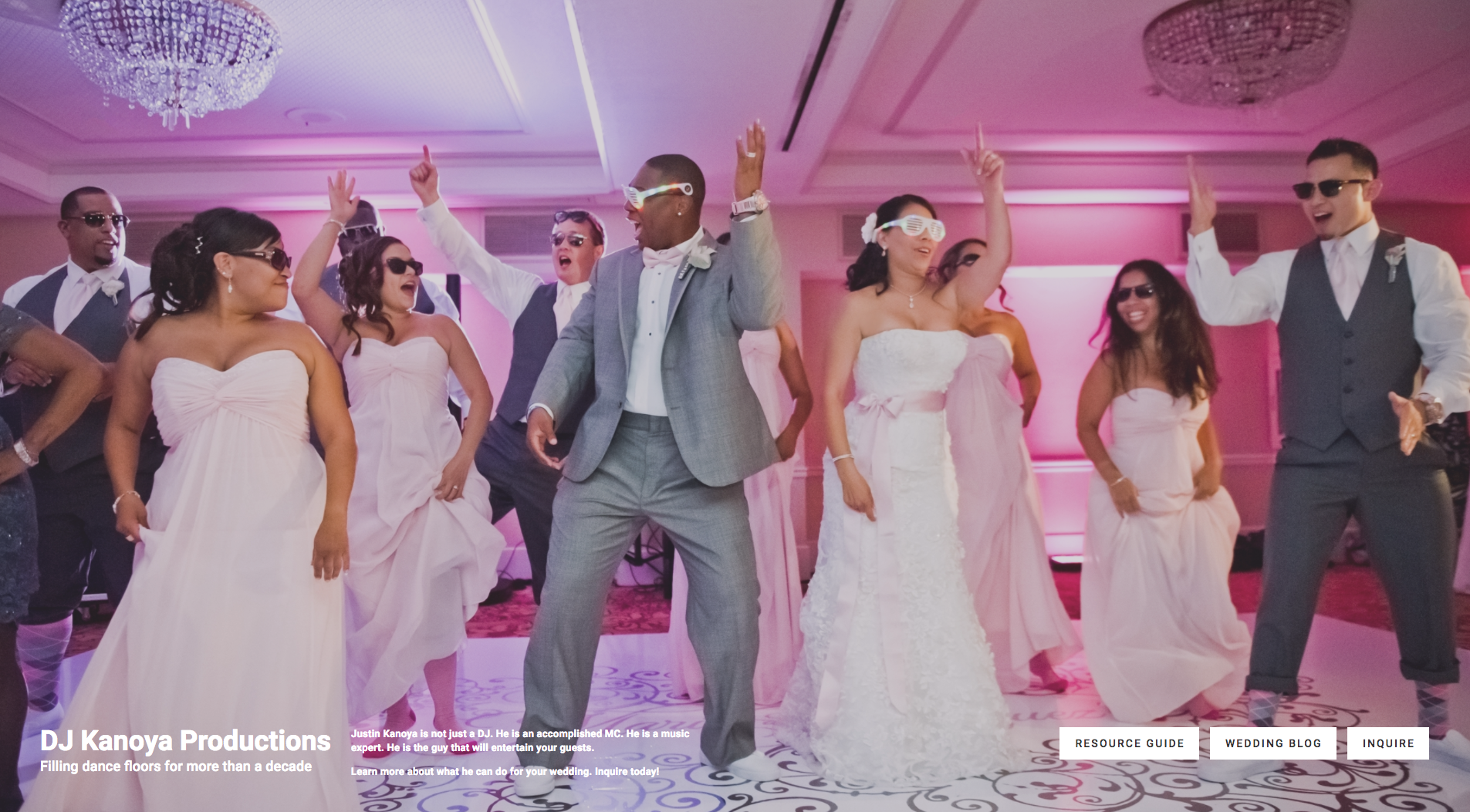 This is an example of a generic wedding landing page created on the DJ Kanoya Productions website.