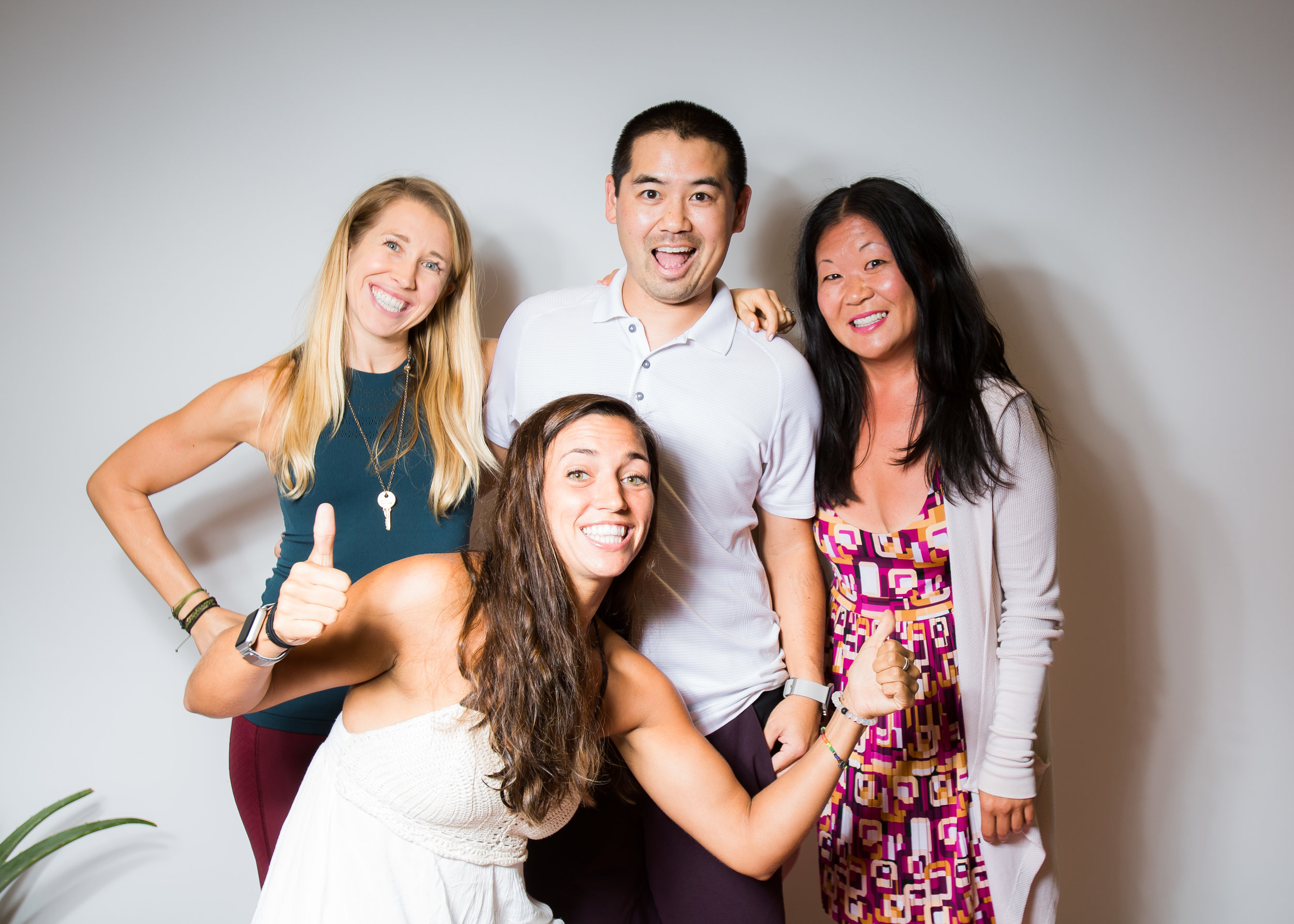 San Diego DJ, Justin Kanoya, with Lululemon ambassadors, (from left) Kat Gunsur-Smith, Katie Burke and Kim Bauman.