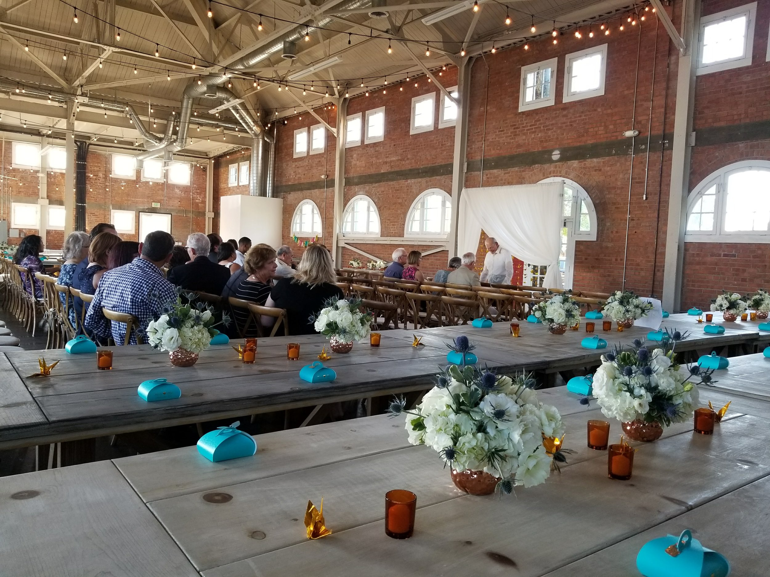Casey and Gigi's ceremony set-up at Brick in Liberty Station.