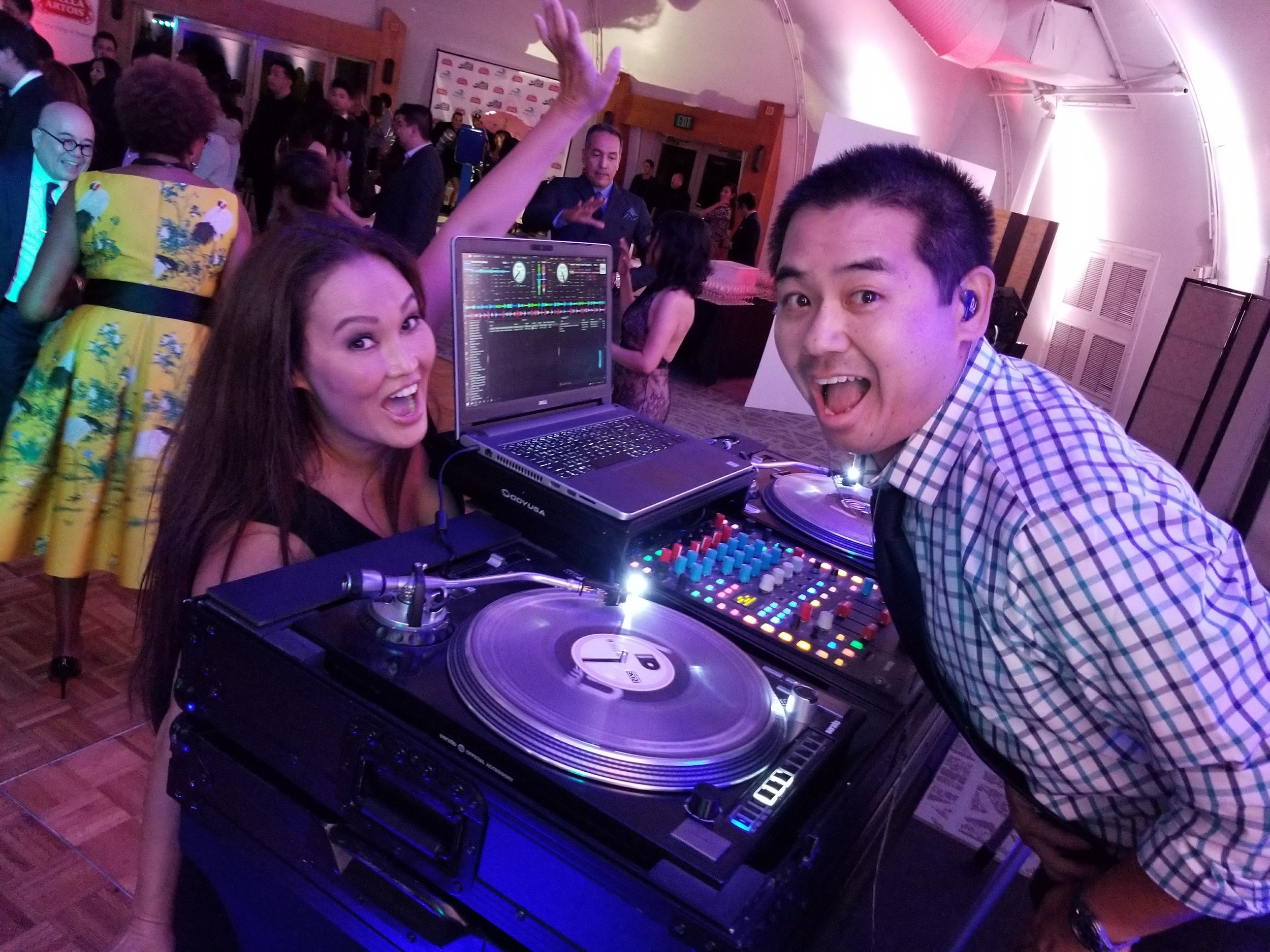 Tia Carerre, with DJ Justin Kanoya,dancing it up at the 2017 San Diego Asian Film Festival Gala After Party.