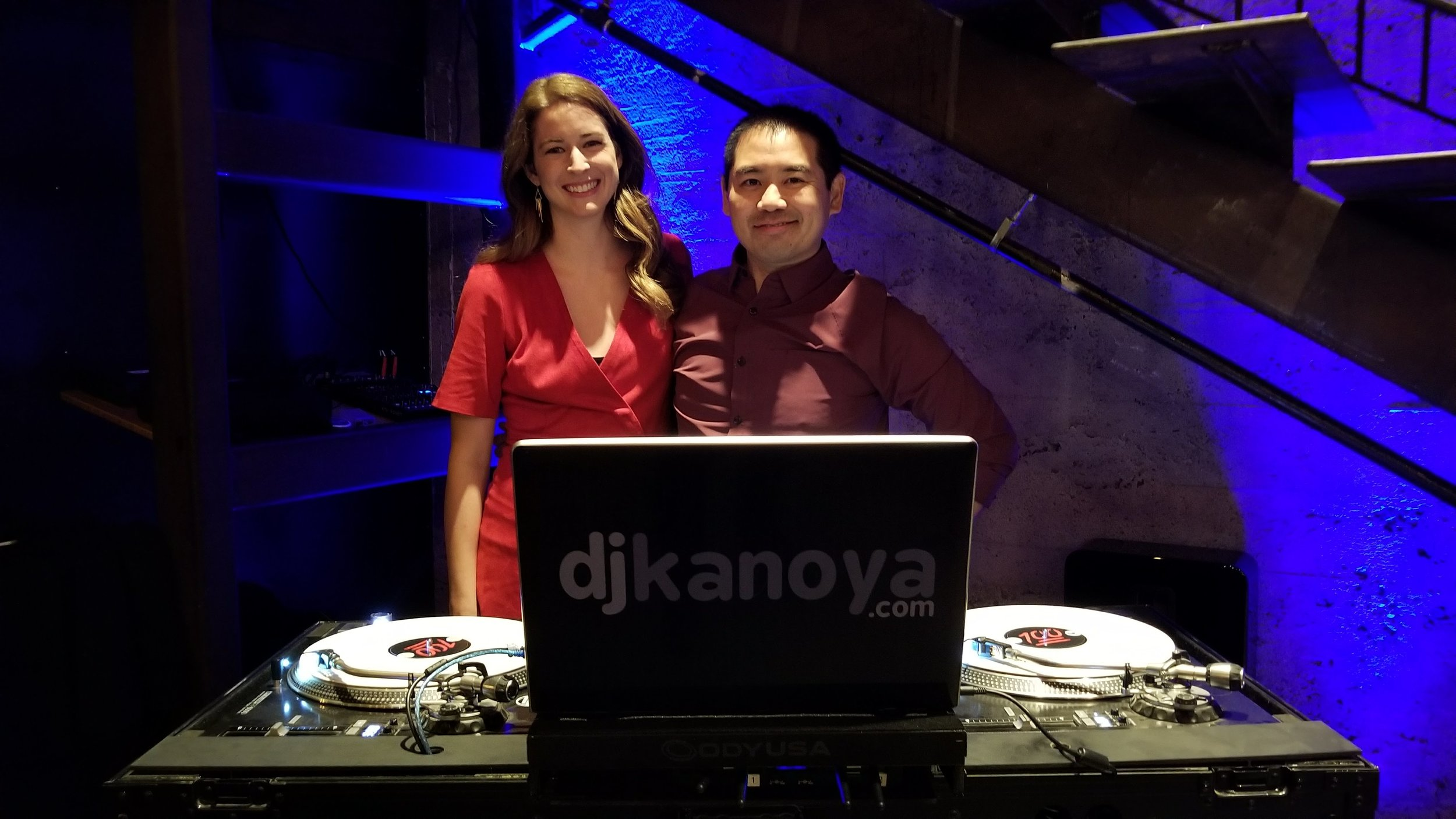 San Diego DJ Justin Kanoya with Dana Jensen, one of the coordinators for the Creative Mornings San Diego third birthday party at Luce Loft.