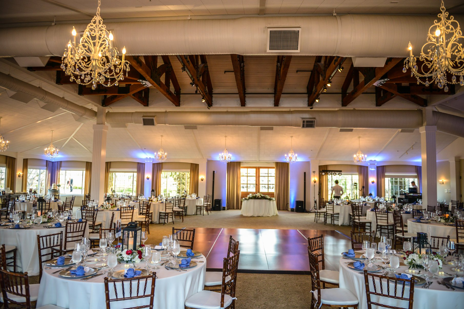 Ponte Winery's Vineyard Pavilion with uplighting for Crystal and Logan's wedding.