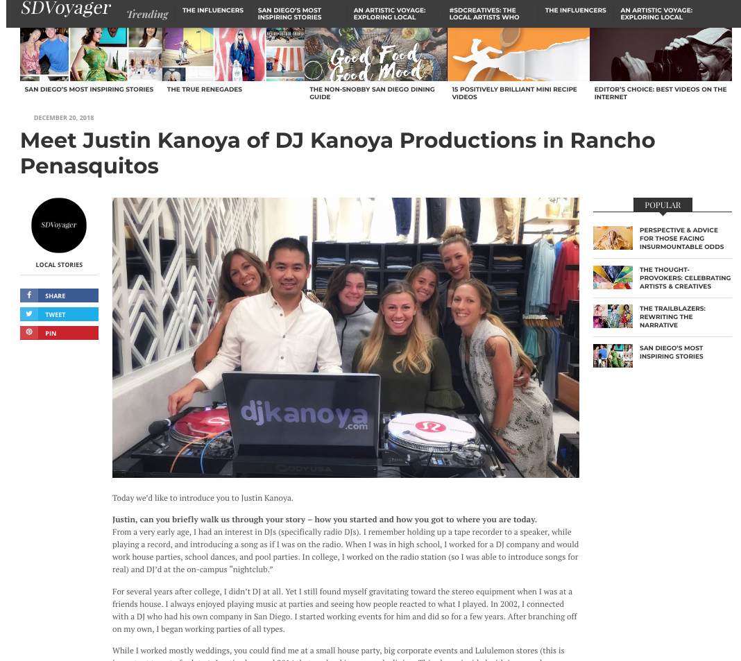 SD Voyager - Meet Justin Kanoya of DJ Kanoya Productions in Rancho Penasquitos
